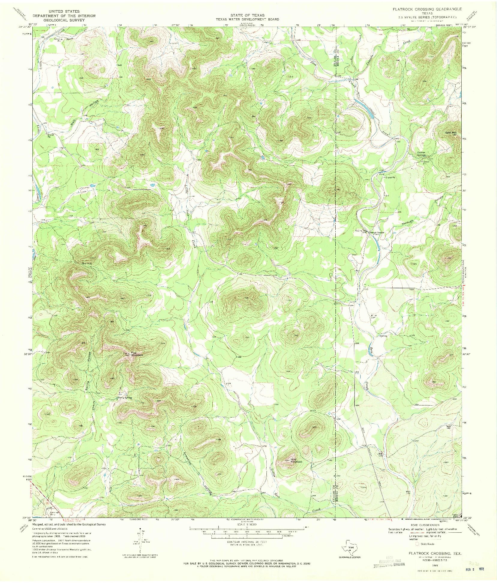 USGS 1:24000-SCALE QUADRANGLE FOR FLATROCK CROSSING, TX 1969