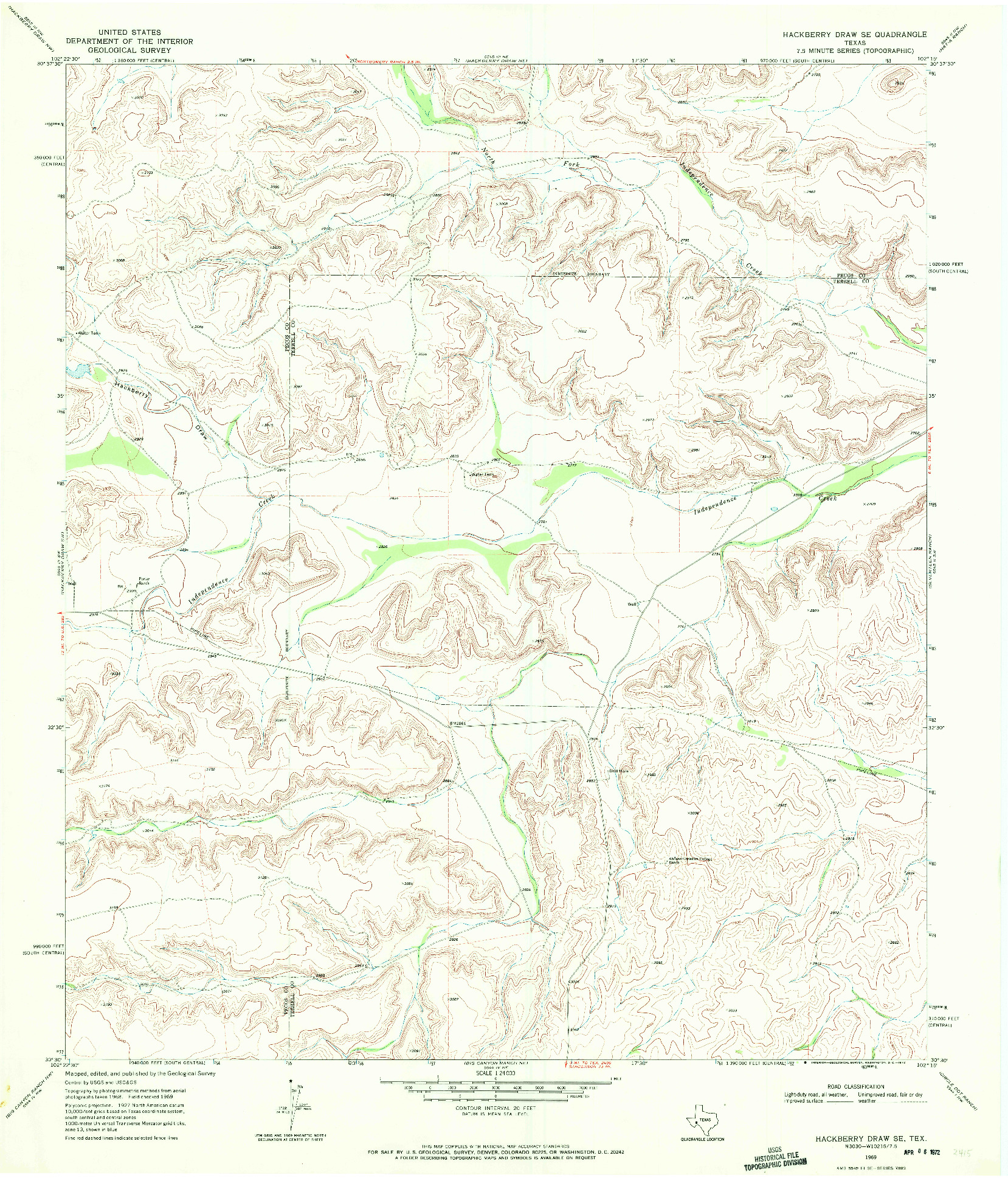 USGS 1:24000-SCALE QUADRANGLE FOR HACKBERRY DRAW SE, TX 1969
