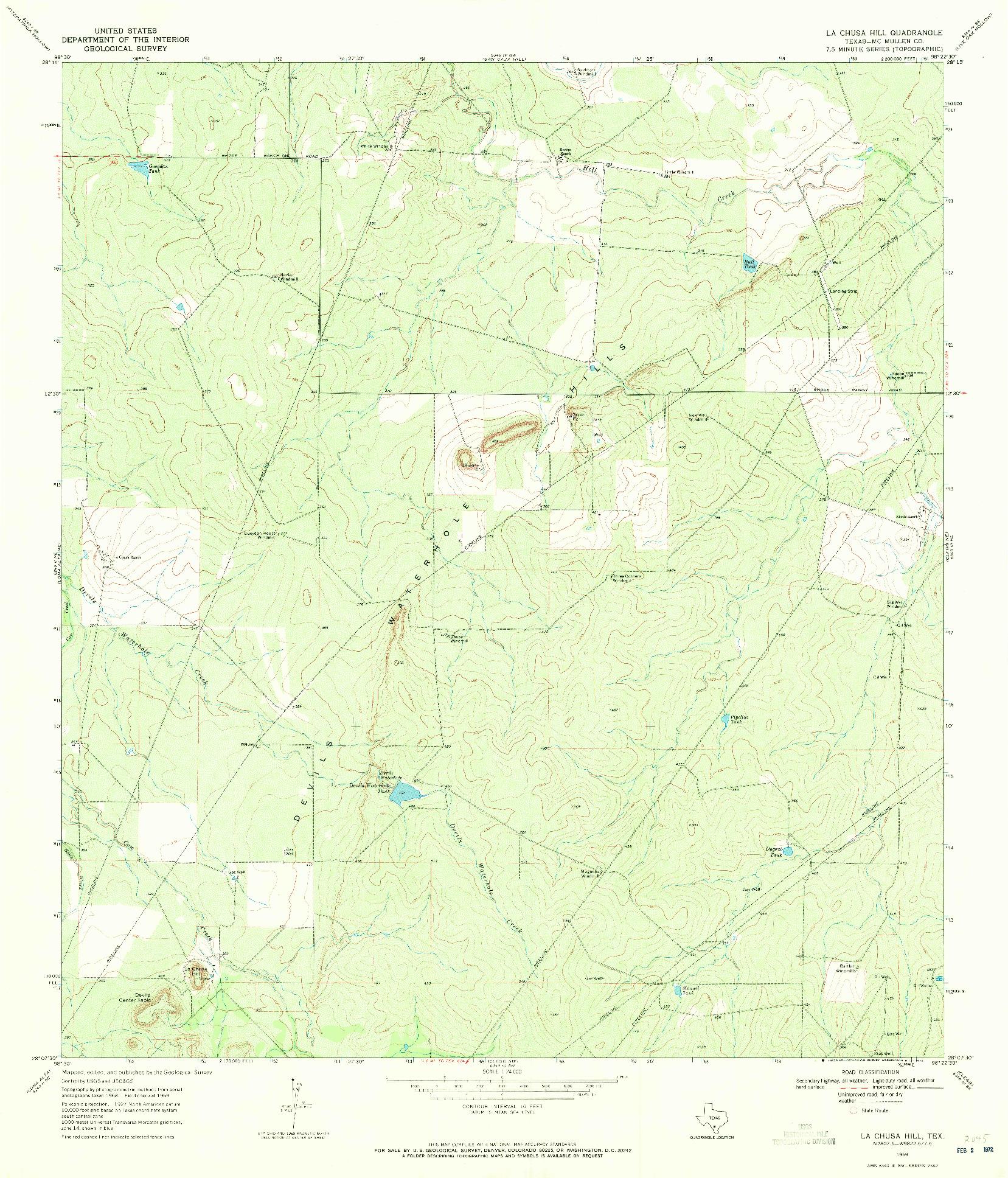 USGS 1:24000-SCALE QUADRANGLE FOR LA CHUSA HILL, TX 1969