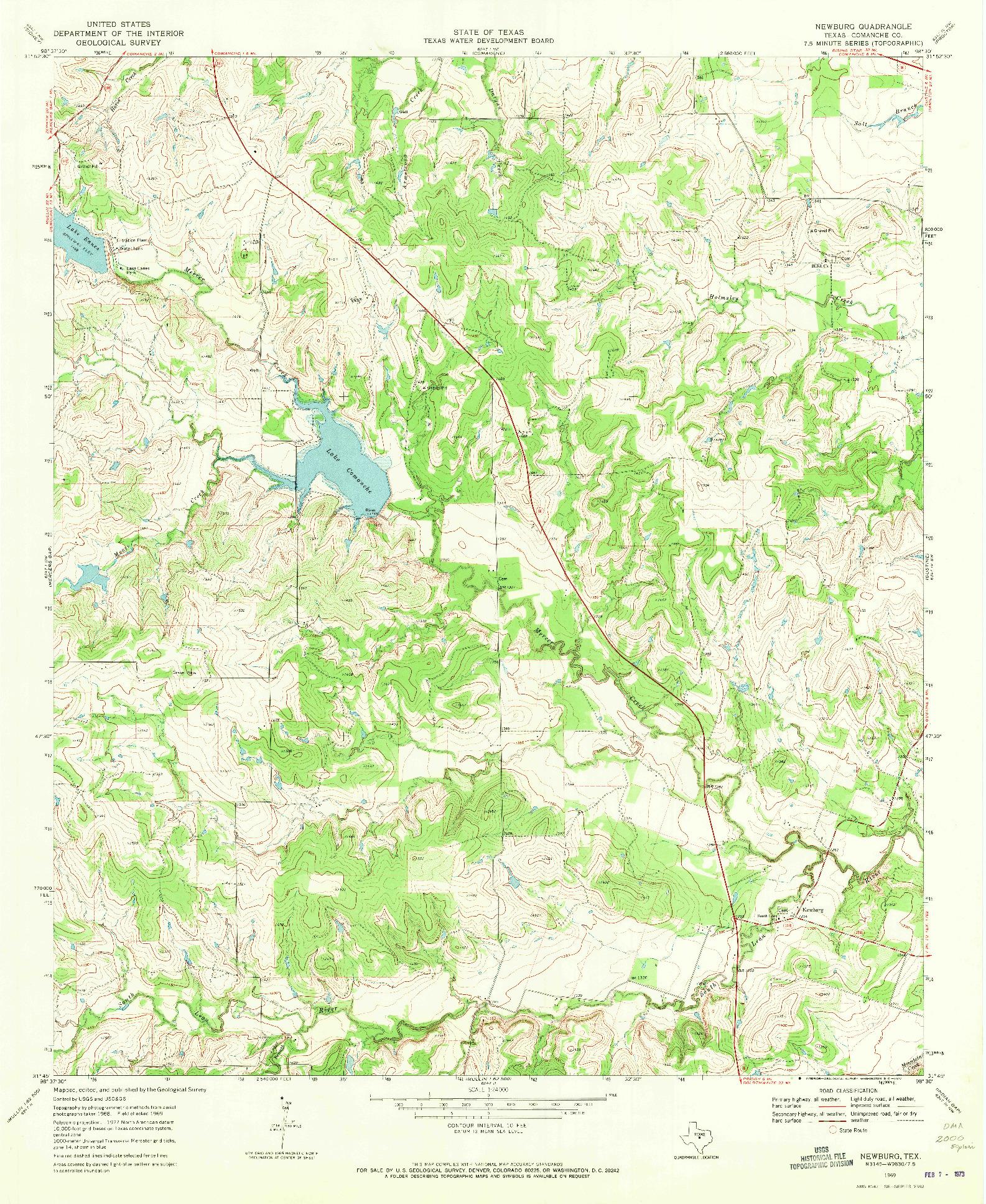 USGS 1:24000-SCALE QUADRANGLE FOR NEWBURG, TX 1969