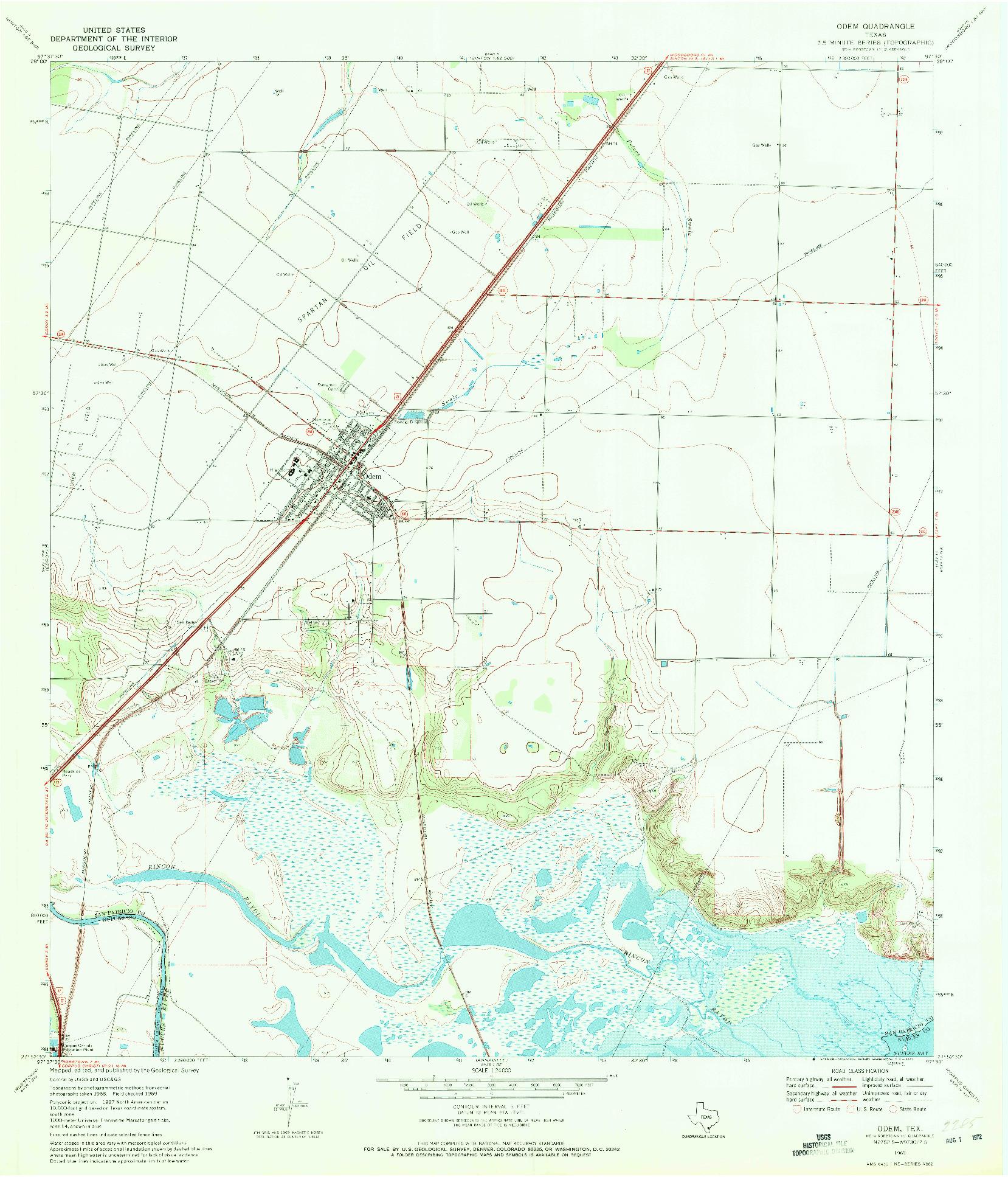 USGS 1:24000-SCALE QUADRANGLE FOR ODEM, TX 1969