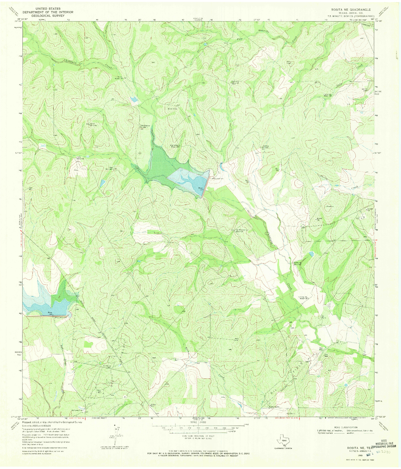 USGS 1:24000-SCALE QUADRANGLE FOR ROSITA NE, TX 1969