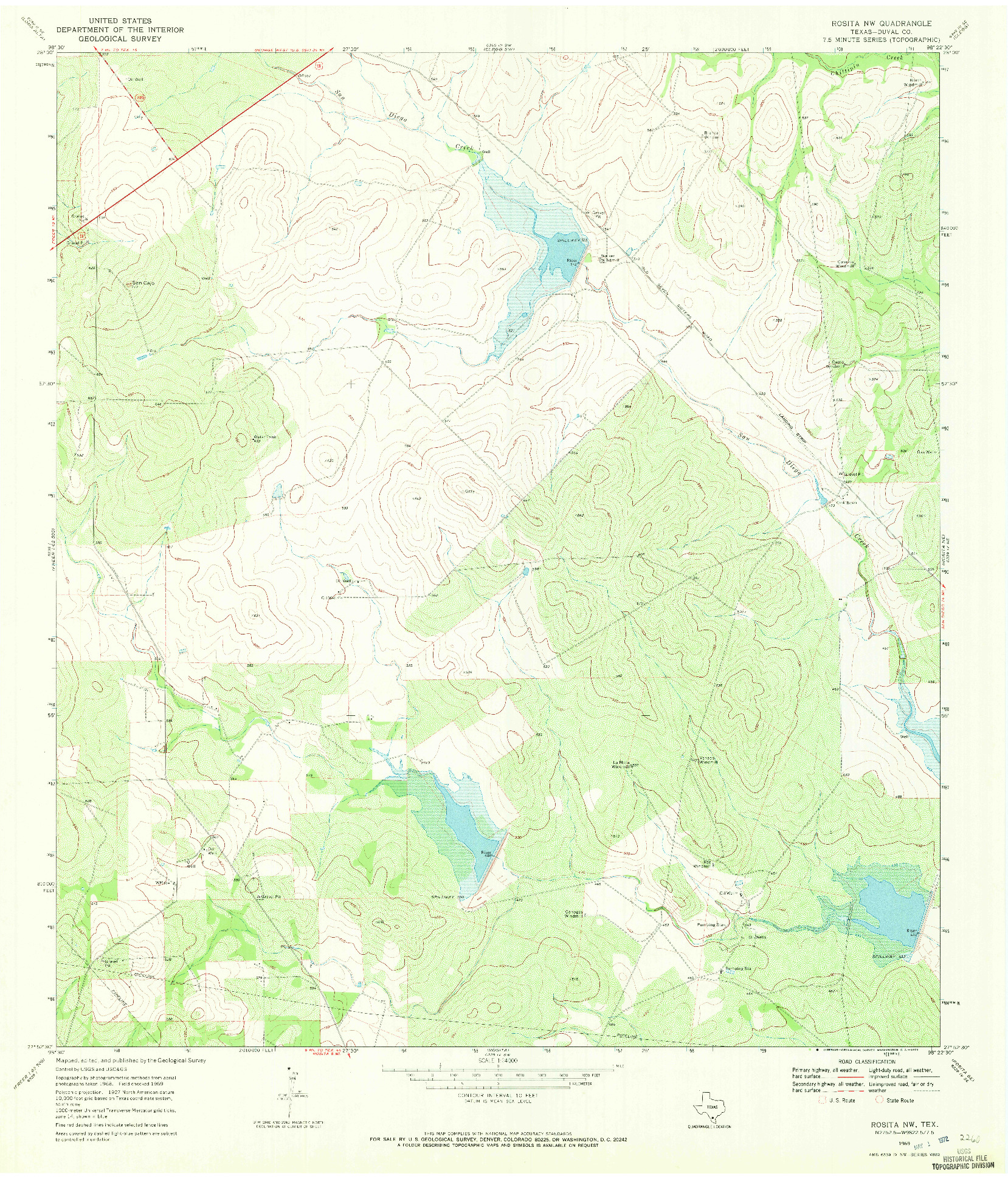 USGS 1:24000-SCALE QUADRANGLE FOR ROSITA NW, TX 1969