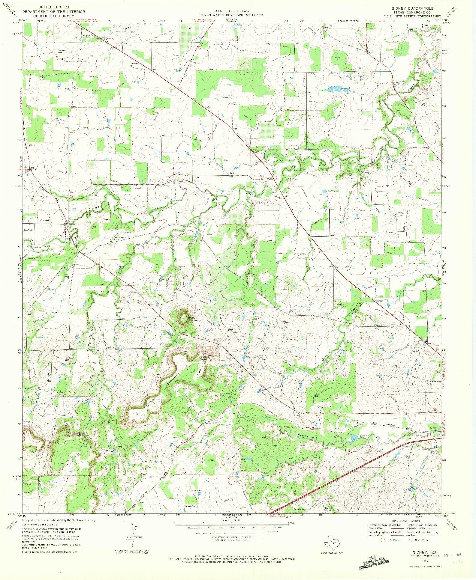 USGS 1:24000-SCALE QUADRANGLE FOR SIDNEY, TX 1969