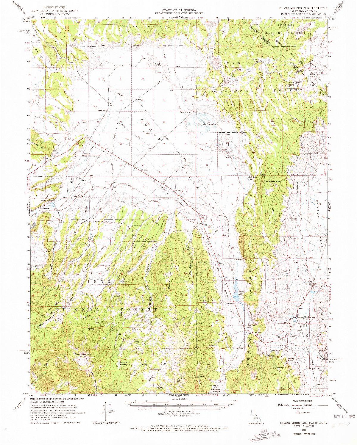 USGS 1:62500-SCALE QUADRANGLE FOR GLASS MOUNTAIN, CA 1962