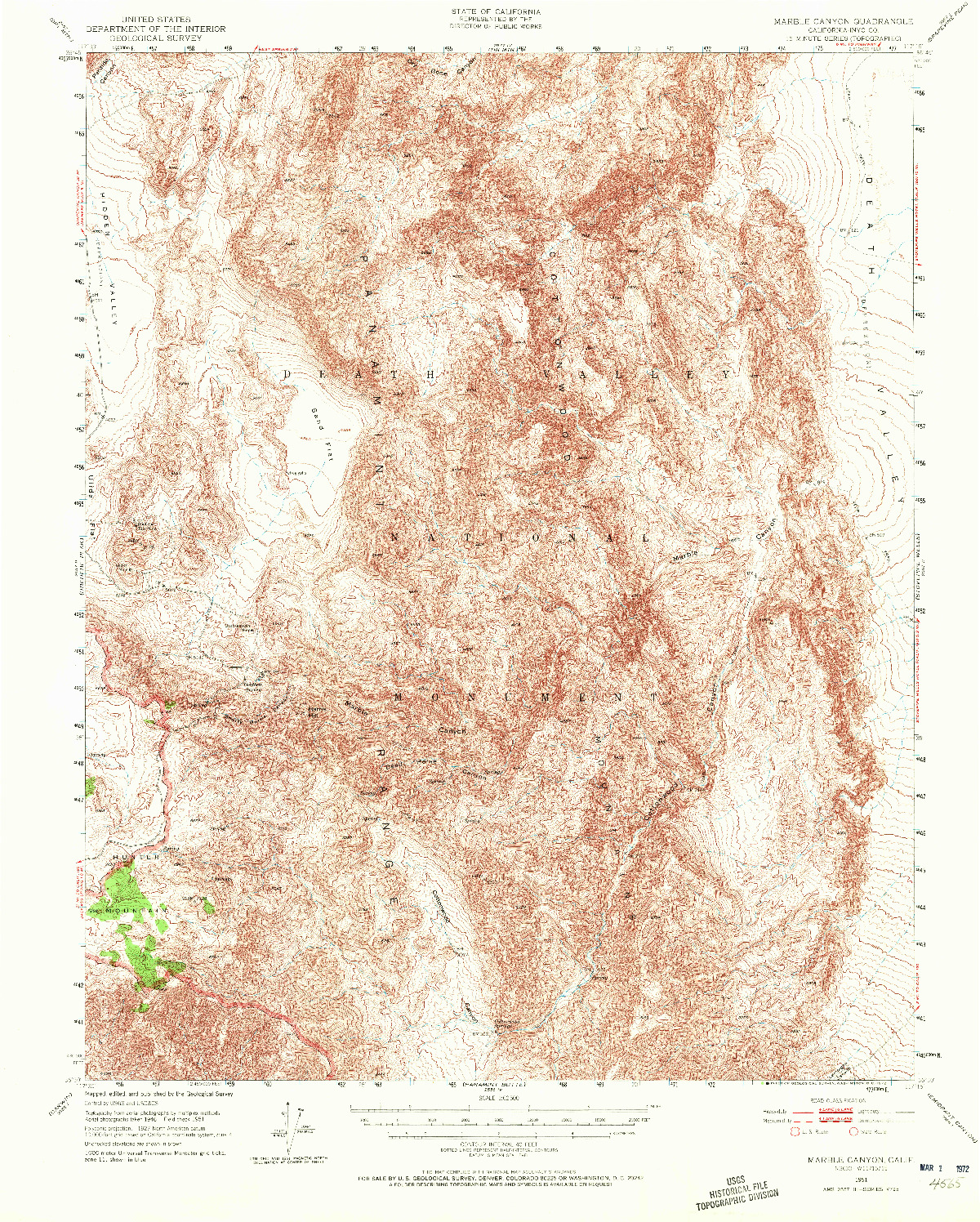 USGS 1:62500-SCALE QUADRANGLE FOR MARBLE CANYON, CA 1951