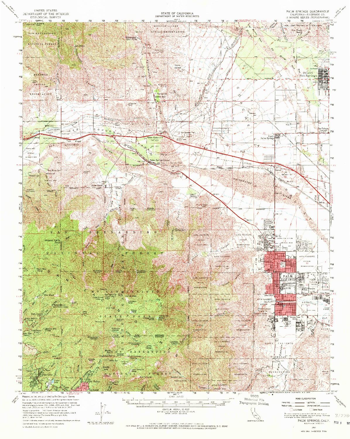 USGS 1:62500-SCALE QUADRANGLE FOR PALM SPRINGS, CA 1957