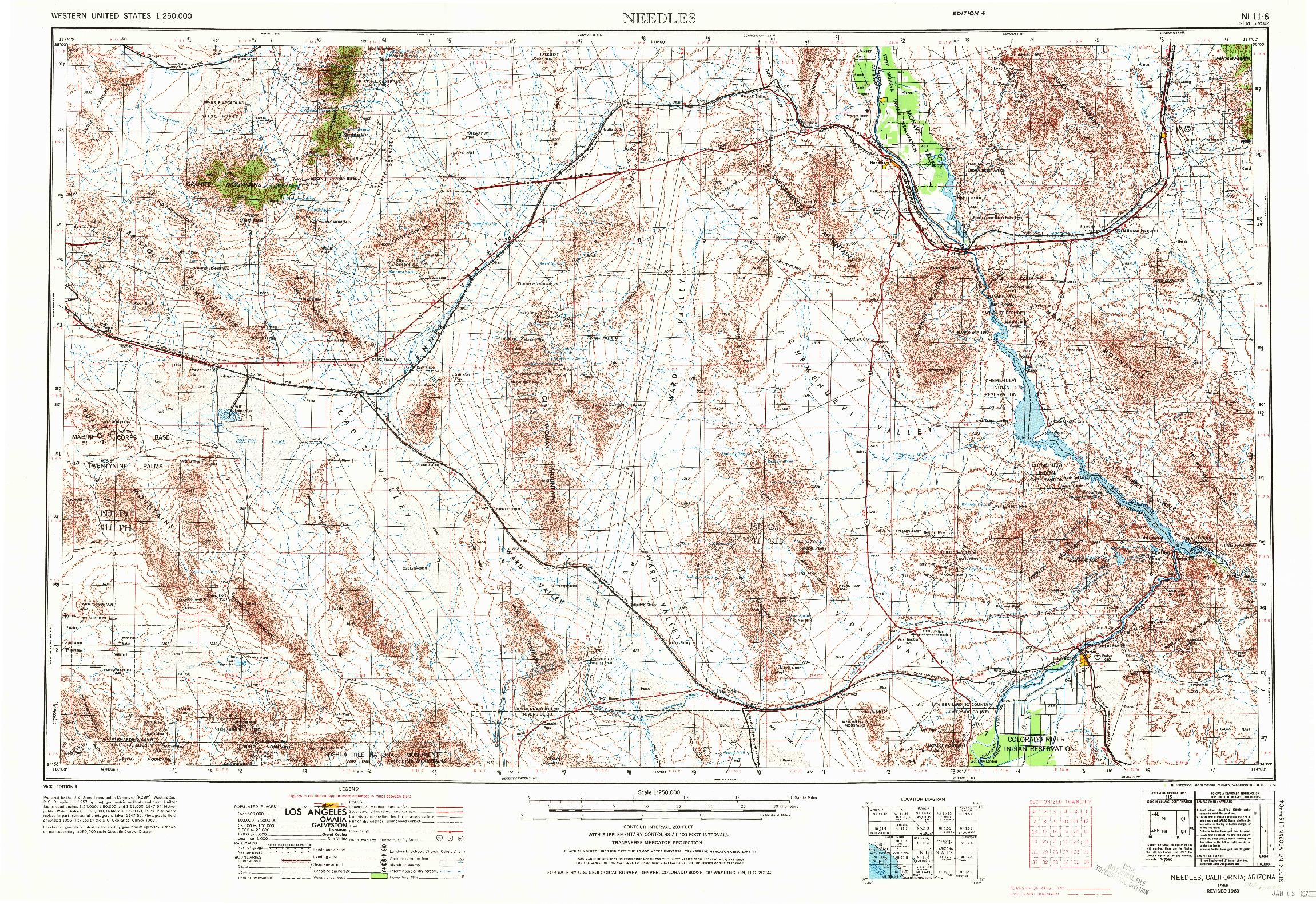 USGS 1:250000-SCALE QUADRANGLE FOR NEEDLES, CA 1956