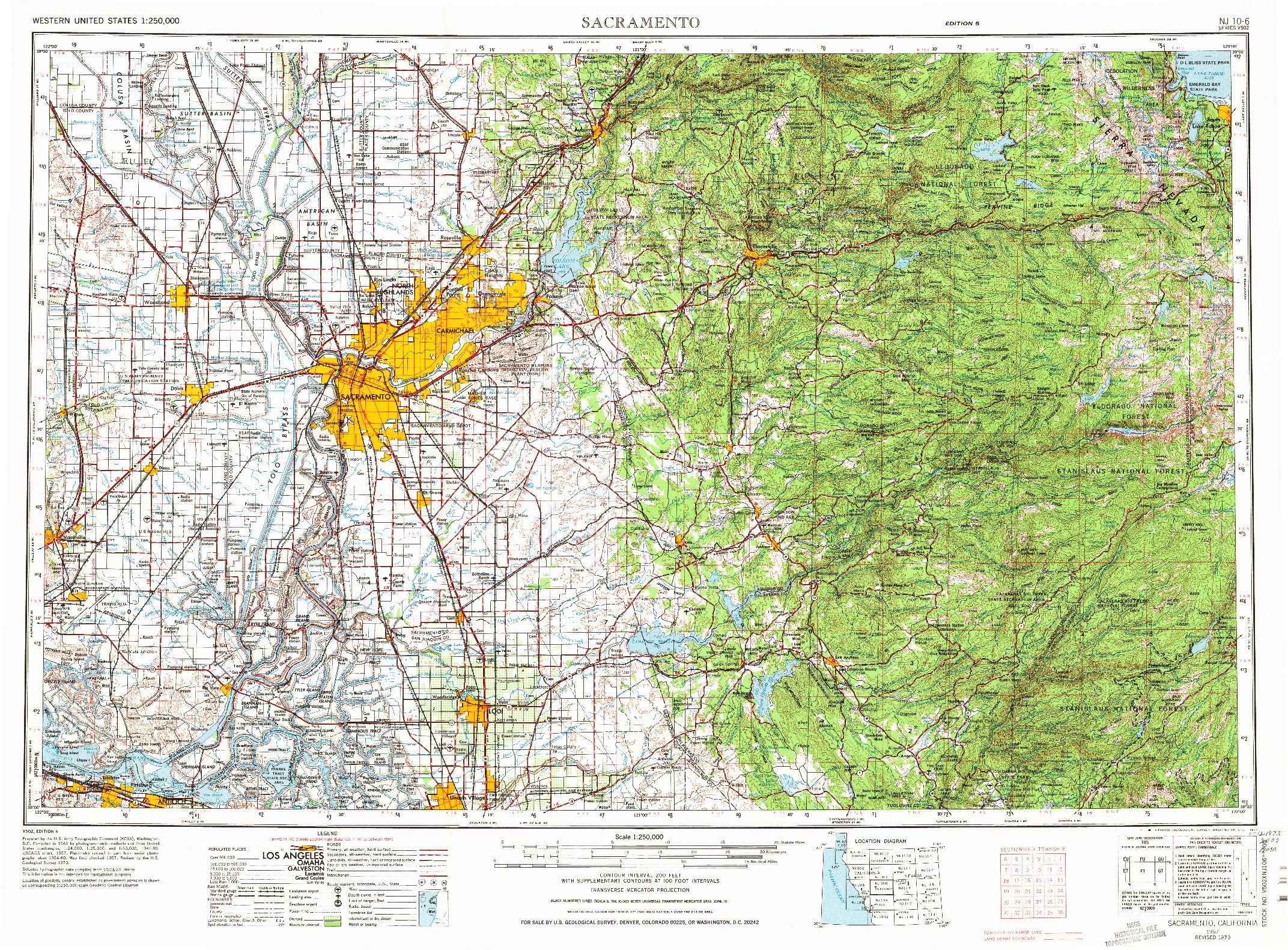 USGS 1:250000-SCALE QUADRANGLE FOR SACRAMENTO, CA 1957