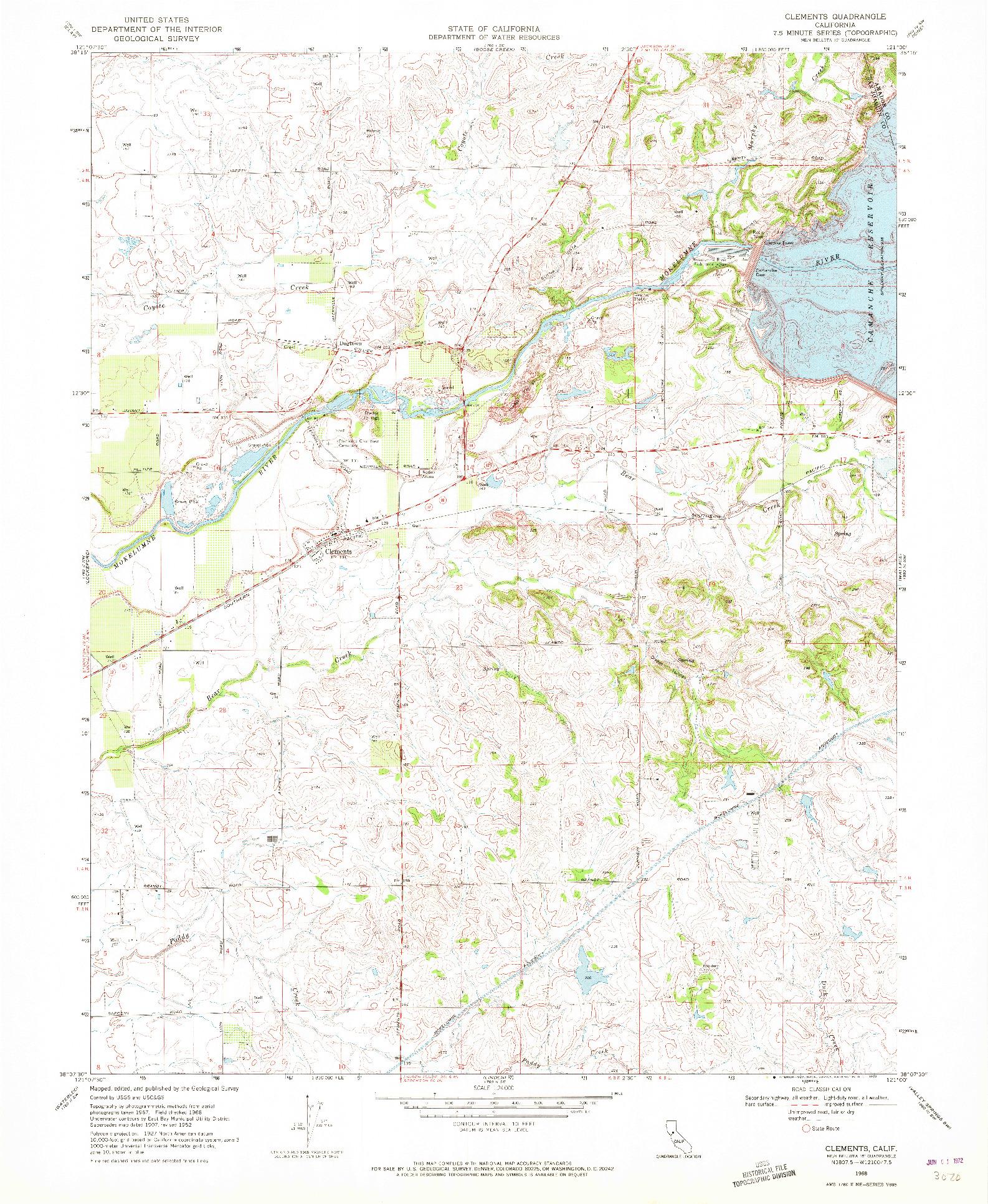 USGS 1:24000-SCALE QUADRANGLE FOR CLEMENTS, CA 1968