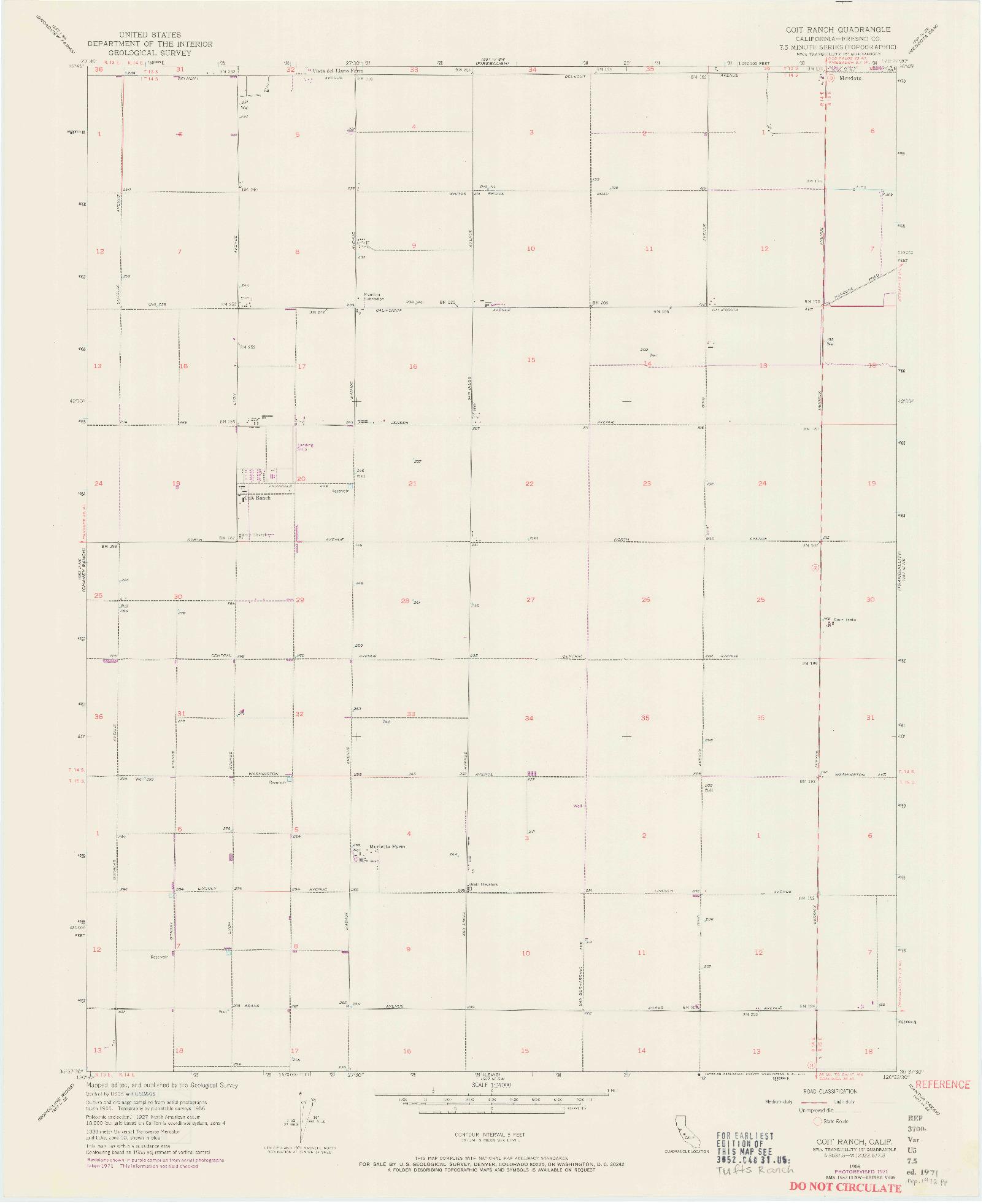 USGS 1:24000-SCALE QUADRANGLE FOR COIT RANCH, CA 1956