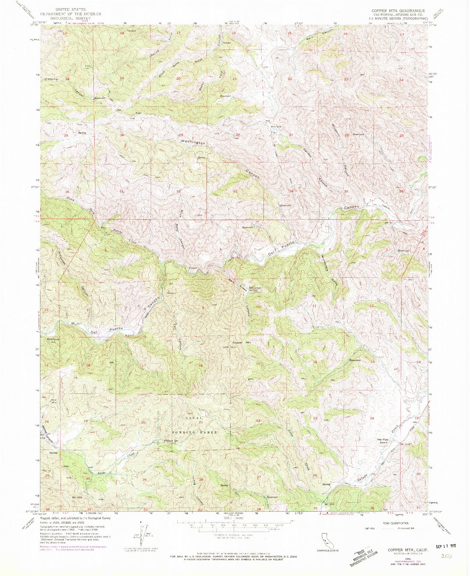 USGS 1:24000-SCALE QUADRANGLE FOR COPPER MTN, CA 1956