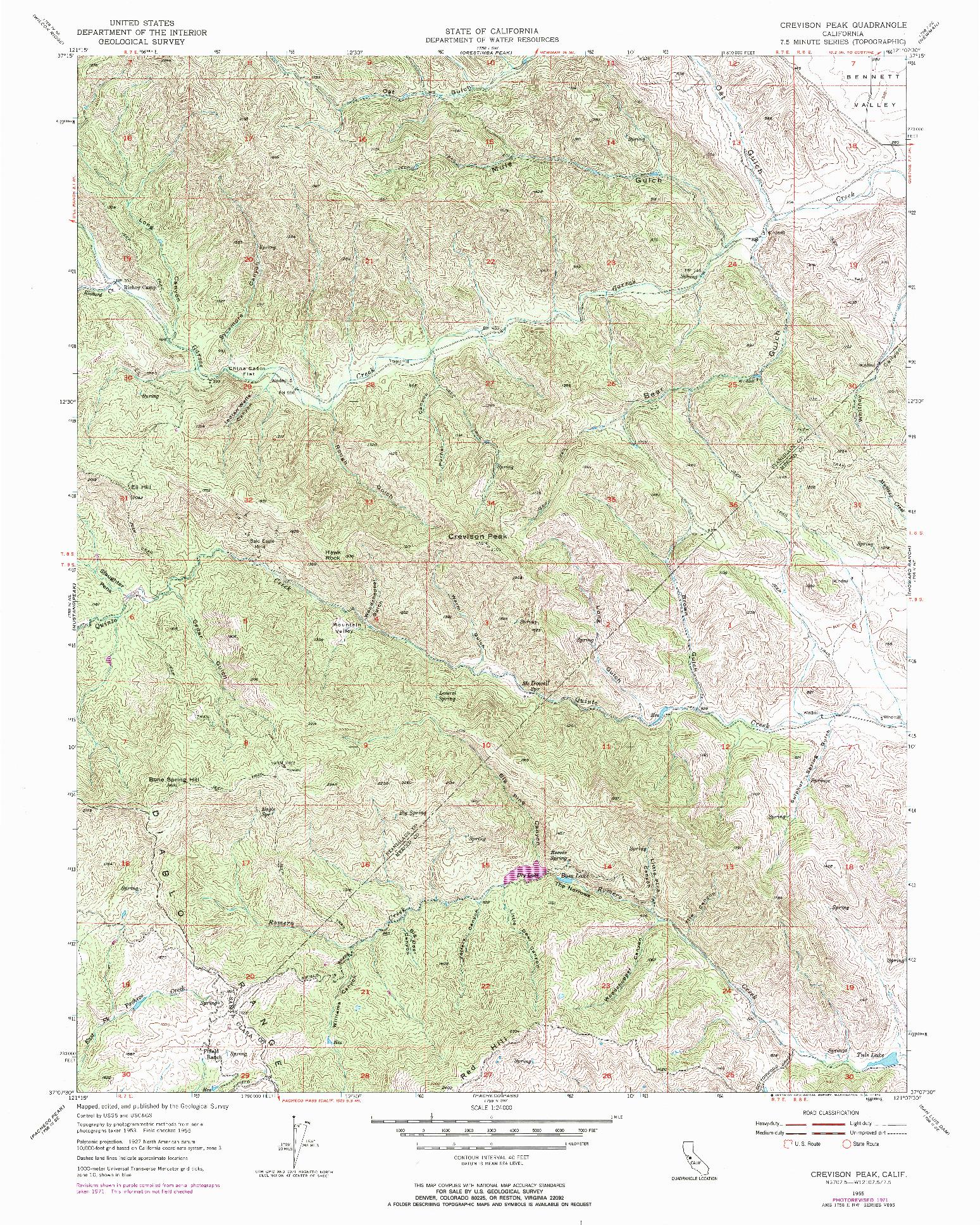 USGS 1:24000-SCALE QUADRANGLE FOR CREVISON PEAK, CA 1955