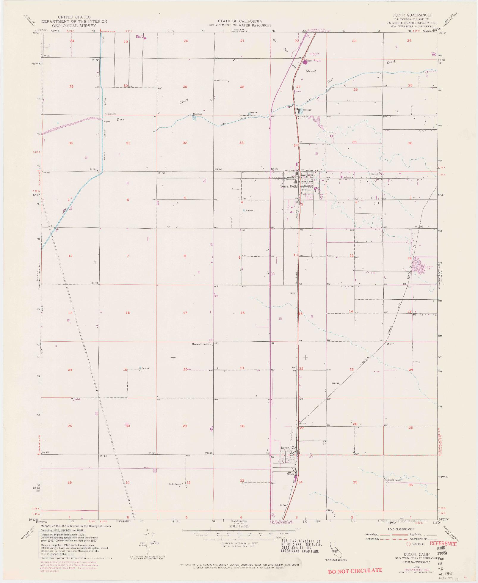 USGS 1:24000-SCALE QUADRANGLE FOR DUCOR, CA 1952
