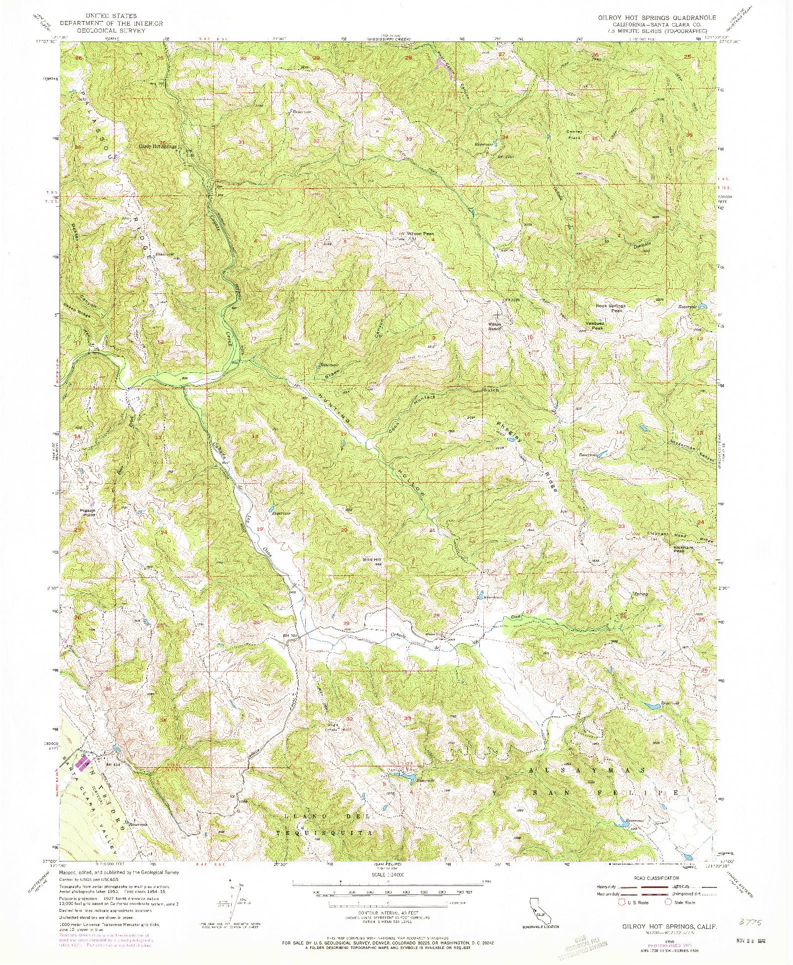 USGS 1:24000-SCALE QUADRANGLE FOR GILROY HOT SPRINGS, CA 1955
