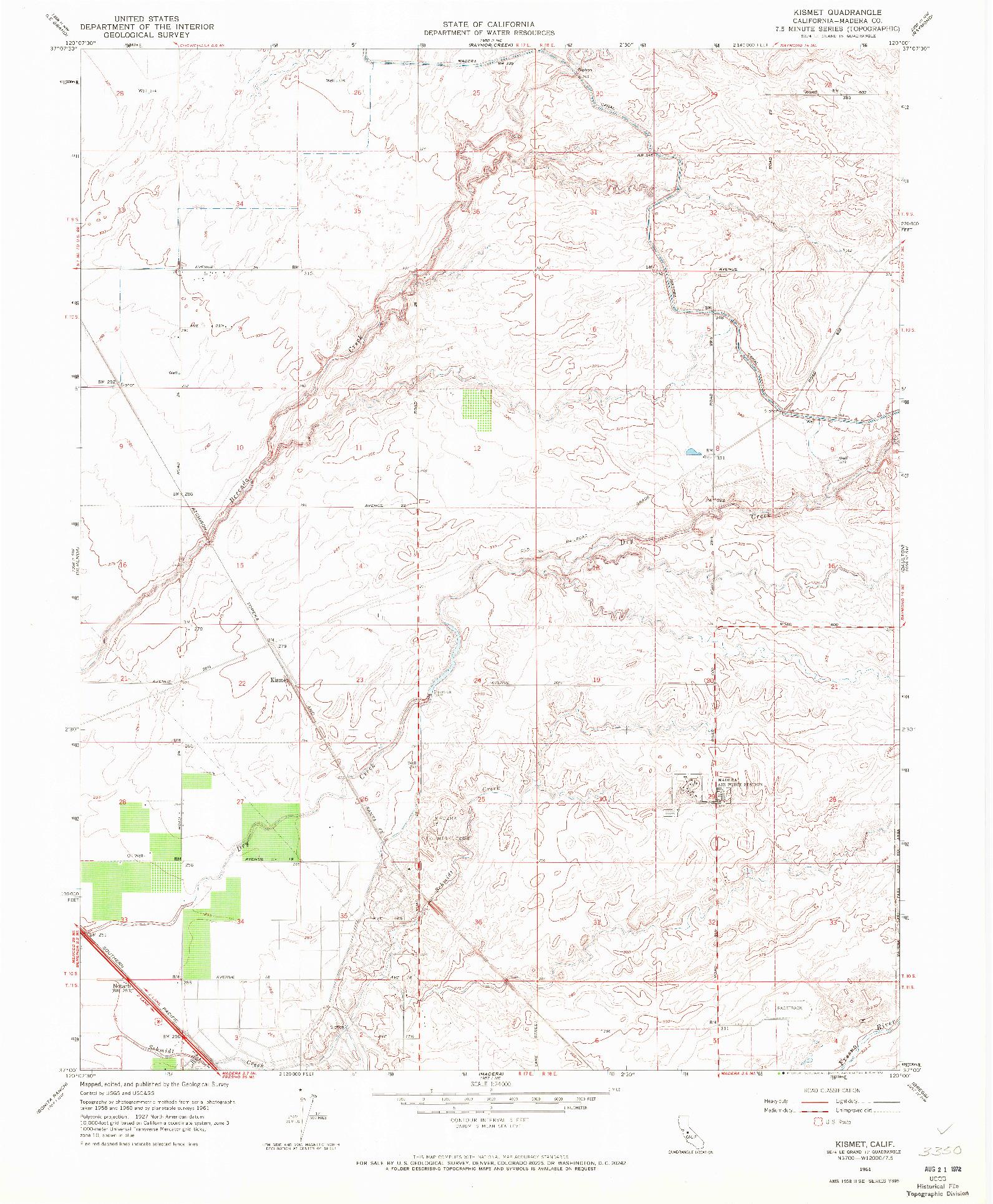 USGS 1:24000-SCALE QUADRANGLE FOR KISMET, CA 1961