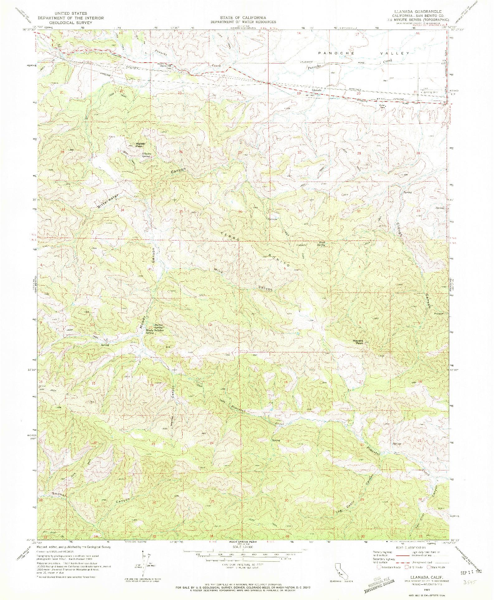 USGS 1:24000-SCALE QUADRANGLE FOR LLANADA, CA 1969
