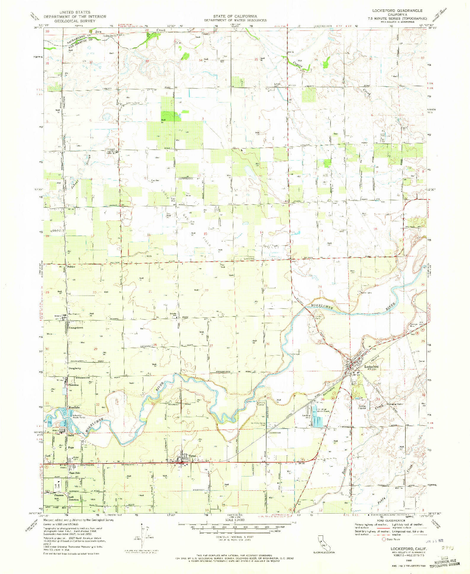 USGS 1:24000-SCALE QUADRANGLE FOR LOCKEFORD, CA 1968