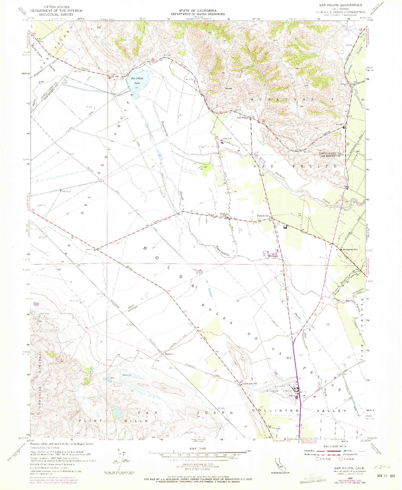 USGS 1:24000-SCALE QUADRANGLE FOR SAN FELIPE, CA 1955