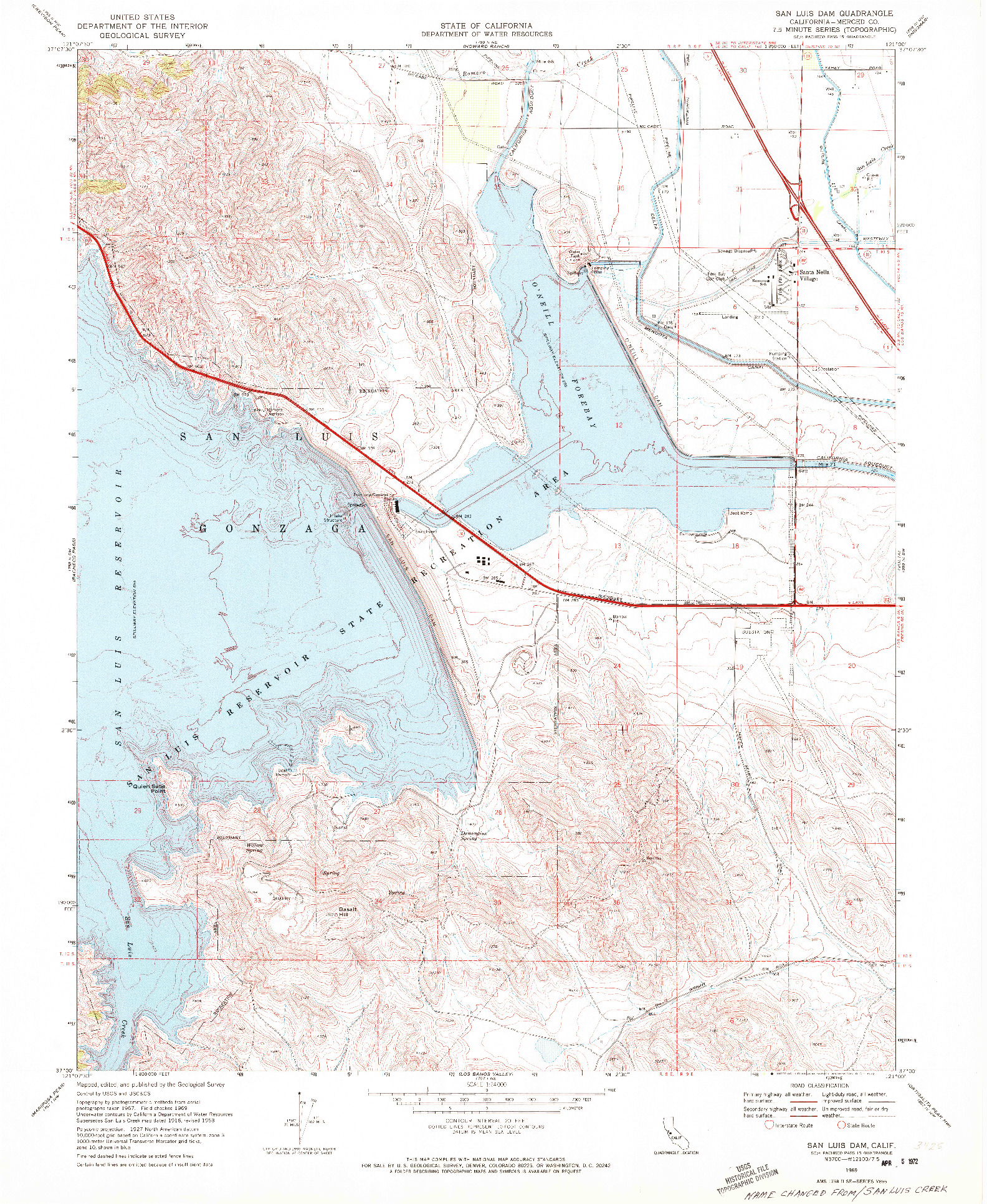 USGS 1:24000-SCALE QUADRANGLE FOR SAN LUIS DAM, CA 1969