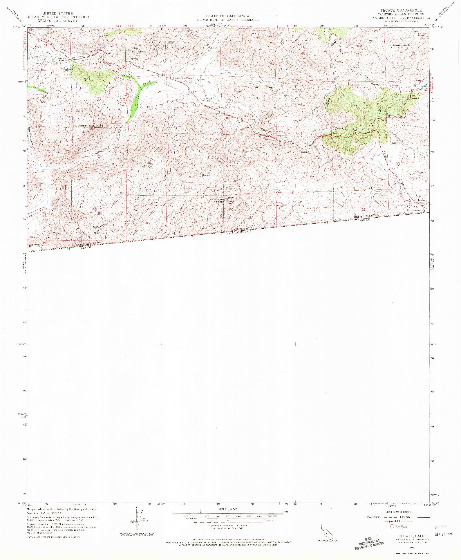 USGS 1:24000-SCALE QUADRANGLE FOR TECATE, CA 1960