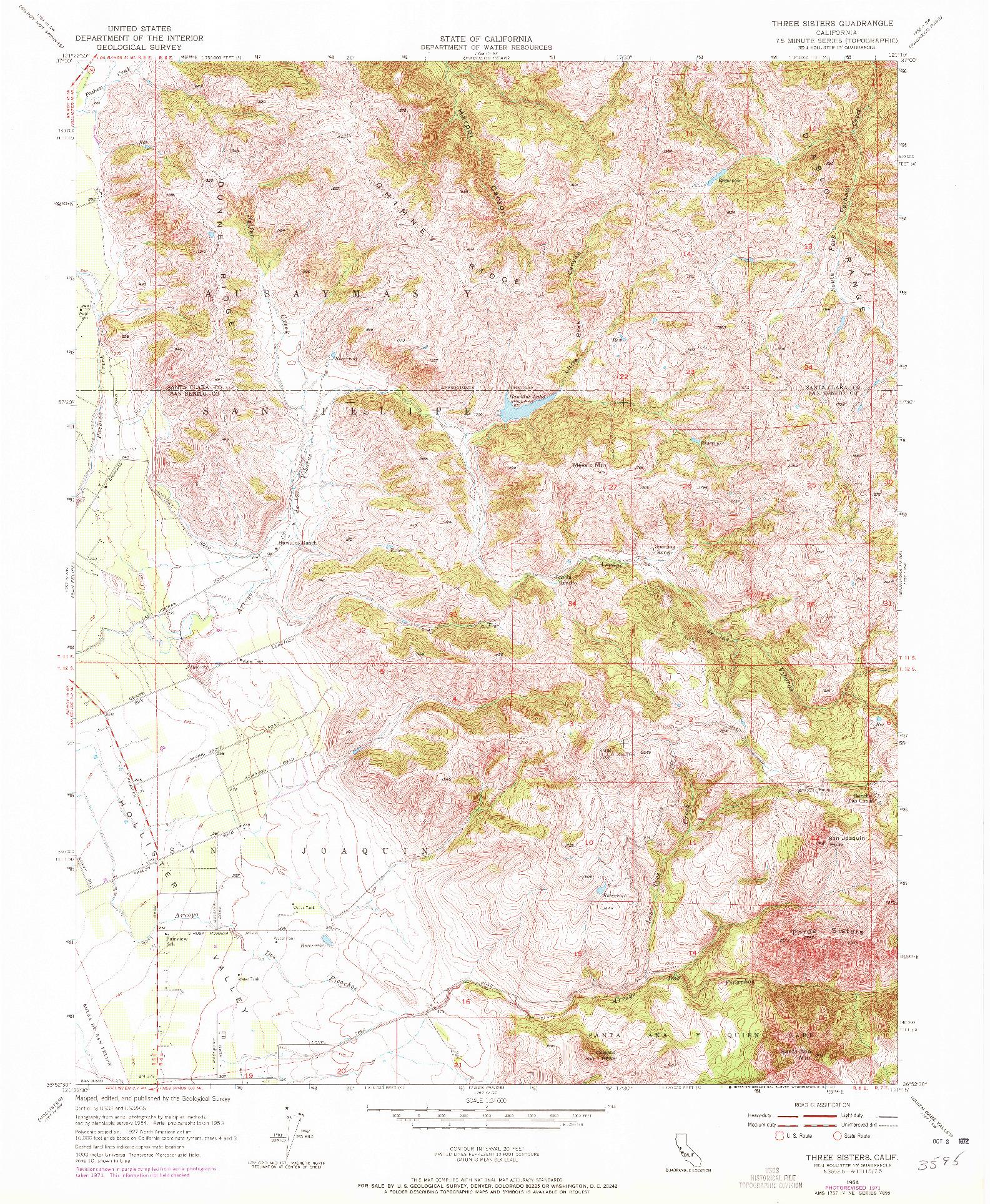 USGS 1:24000-SCALE QUADRANGLE FOR THREE SISTERS, CA 1954