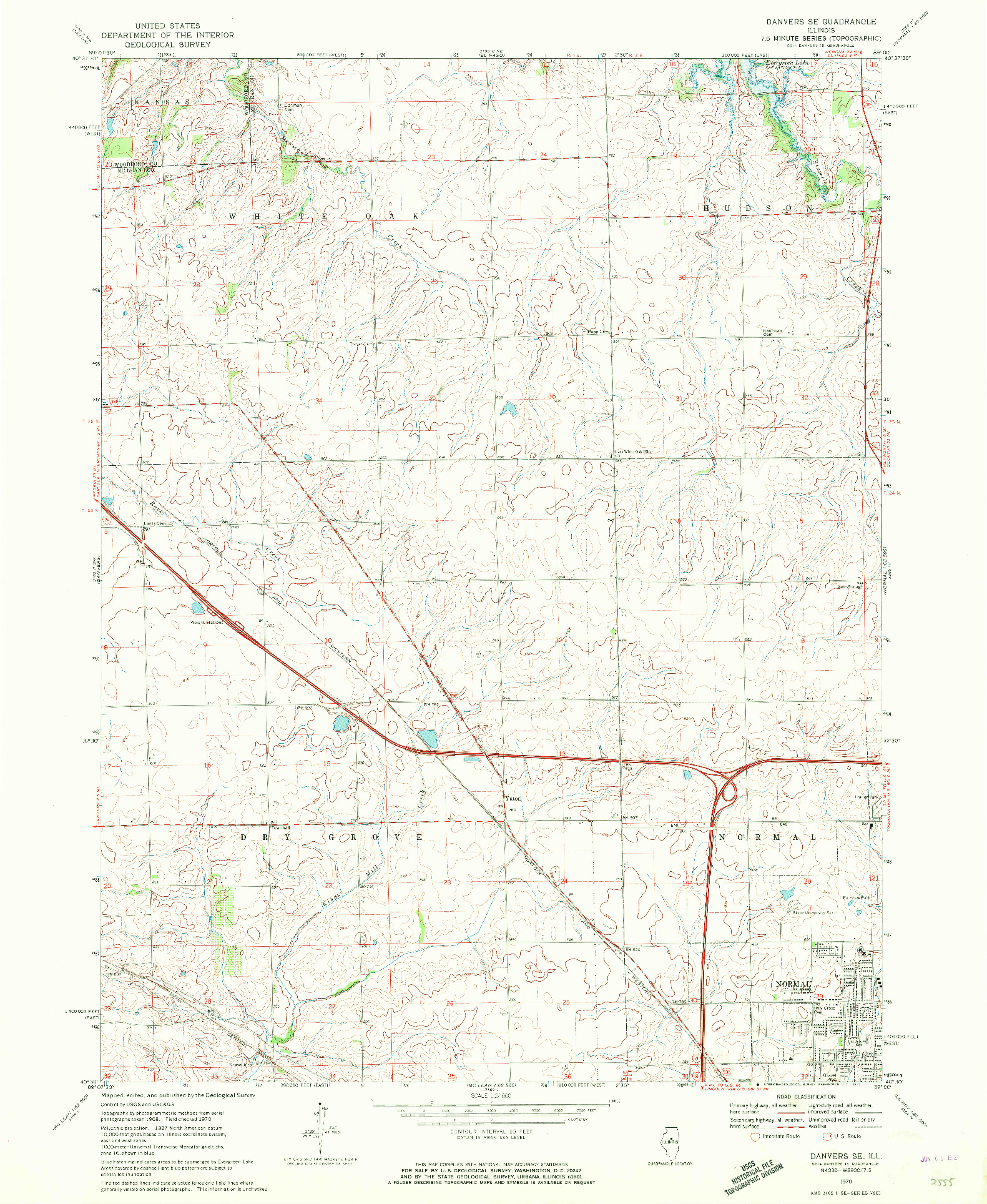 USGS 1:24000-SCALE QUADRANGLE FOR DANVERS SE, IL 1970