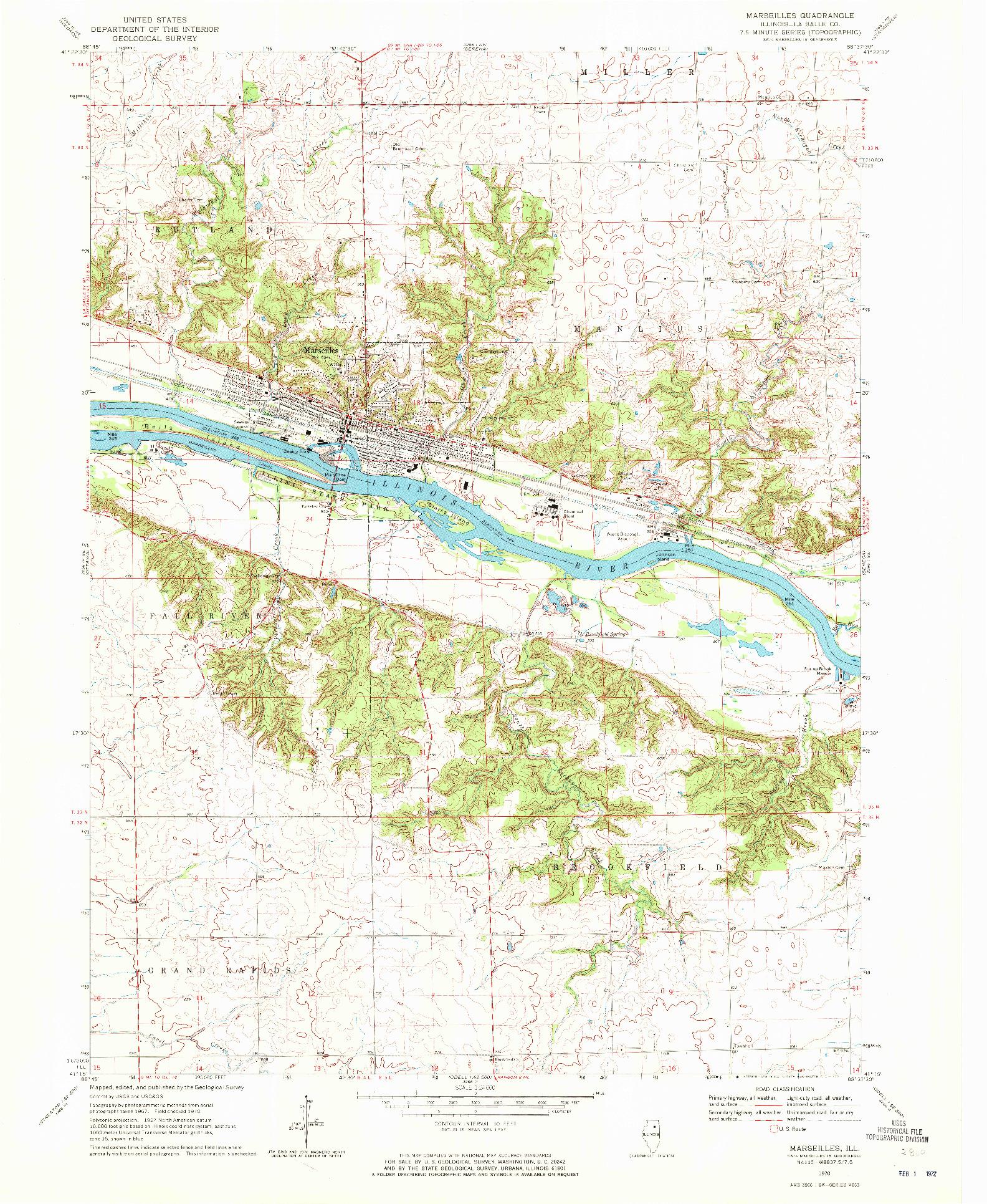 USGS 1:24000-SCALE QUADRANGLE FOR MARSEILLES, IL 1970