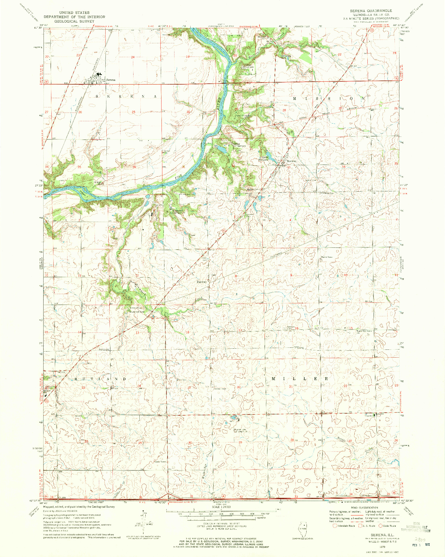 USGS 1:24000-SCALE QUADRANGLE FOR SERENA, IL 1970