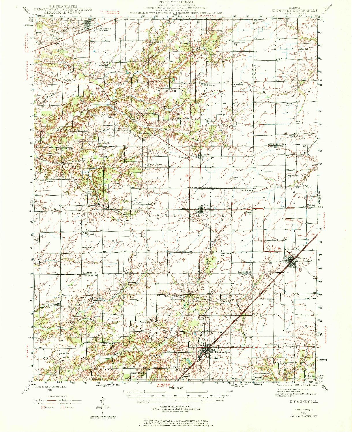 USGS 1:62500-SCALE QUADRANGLE FOR KINMUNDY, IL 1945