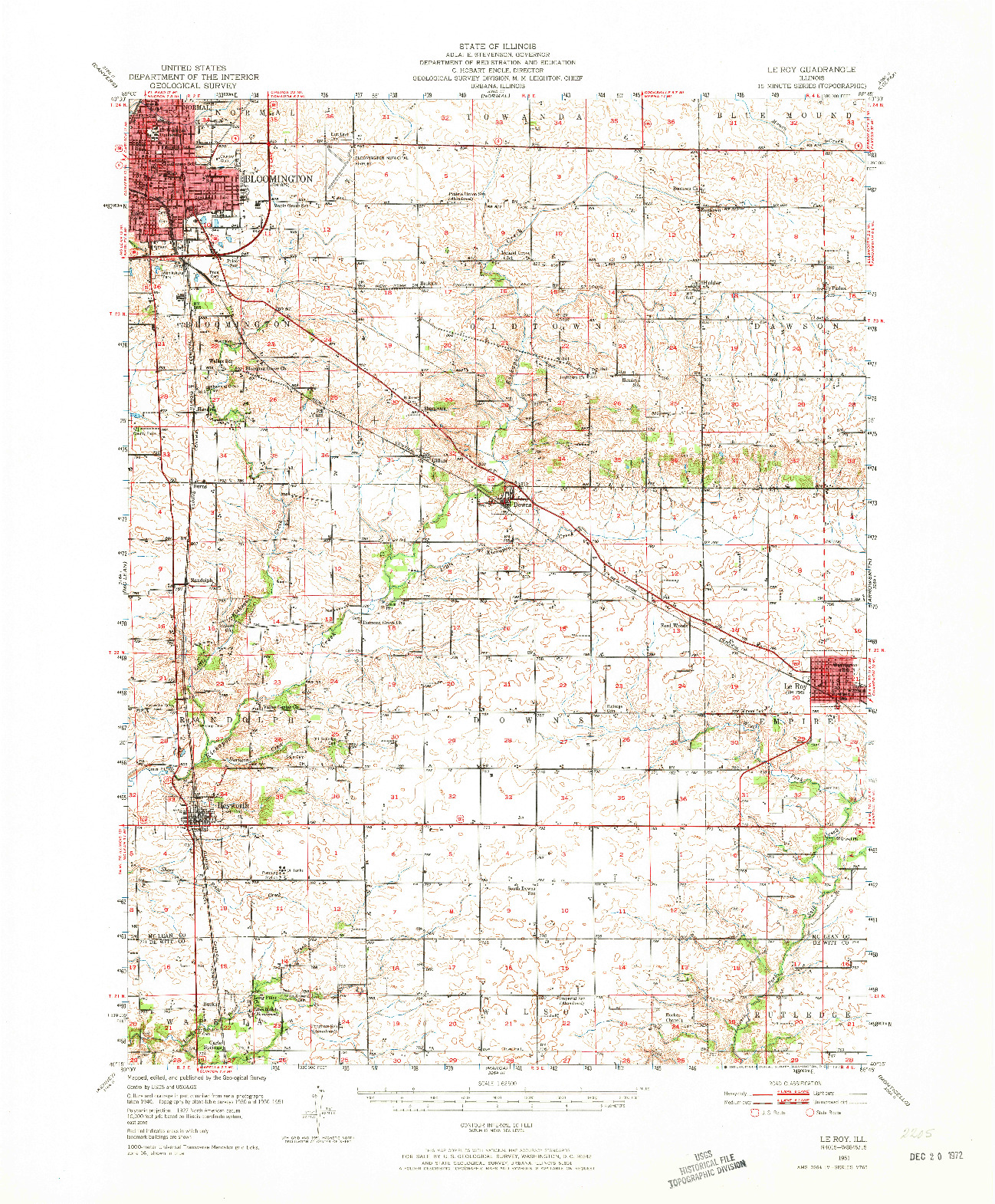 USGS 1:62500-SCALE QUADRANGLE FOR LE ROY, IL 1951