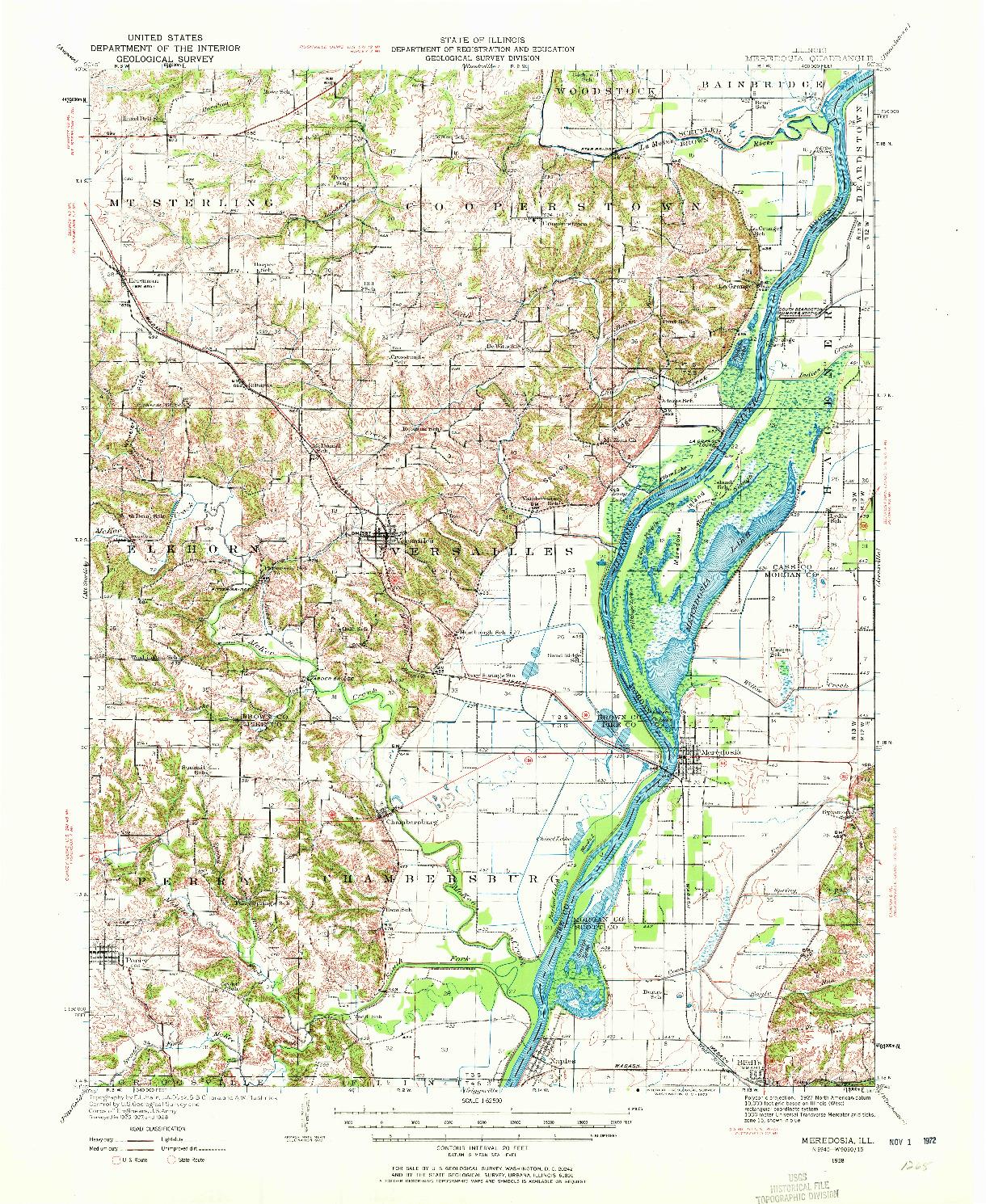 USGS 1:62500-SCALE QUADRANGLE FOR MEREDOSIA, IL 1928
