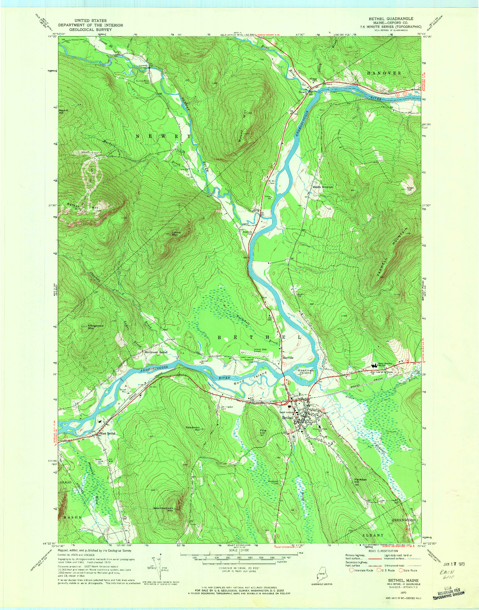 USGS 1:24000-SCALE QUADRANGLE FOR BETHEL, ME 1970