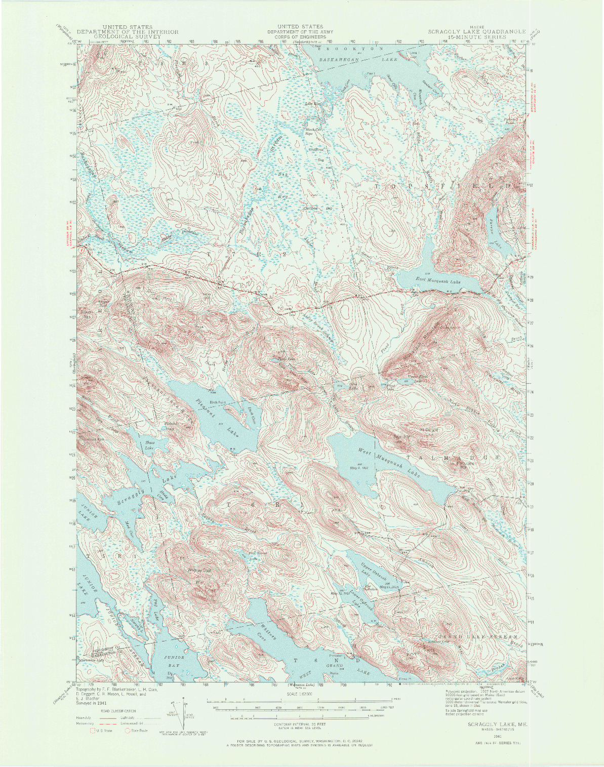 USGS 1:62500-SCALE QUADRANGLE FOR SCRAGGLY LAKE, ME 1941