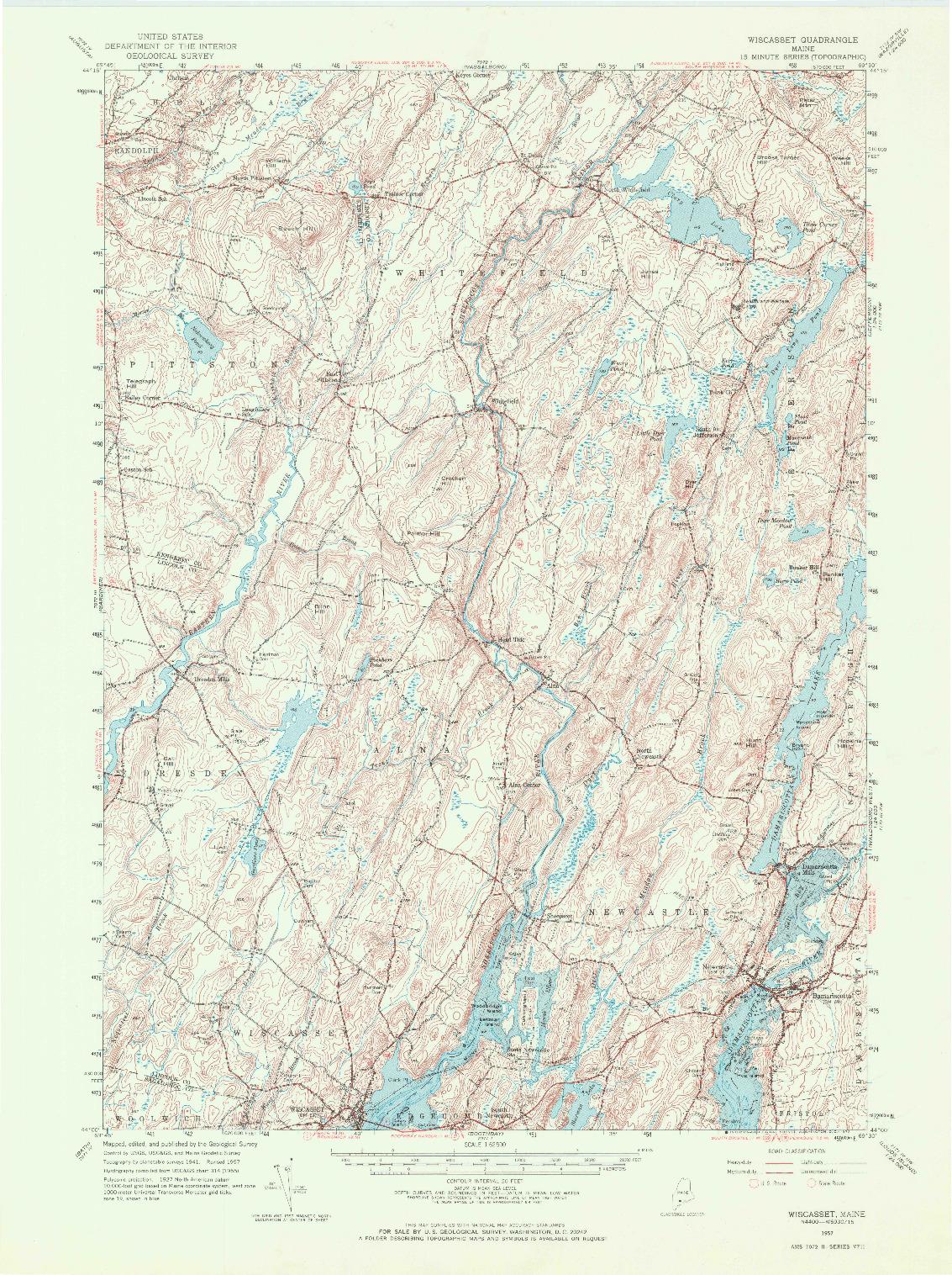 USGS 1:62500-SCALE QUADRANGLE FOR WISCASSET, ME 1957