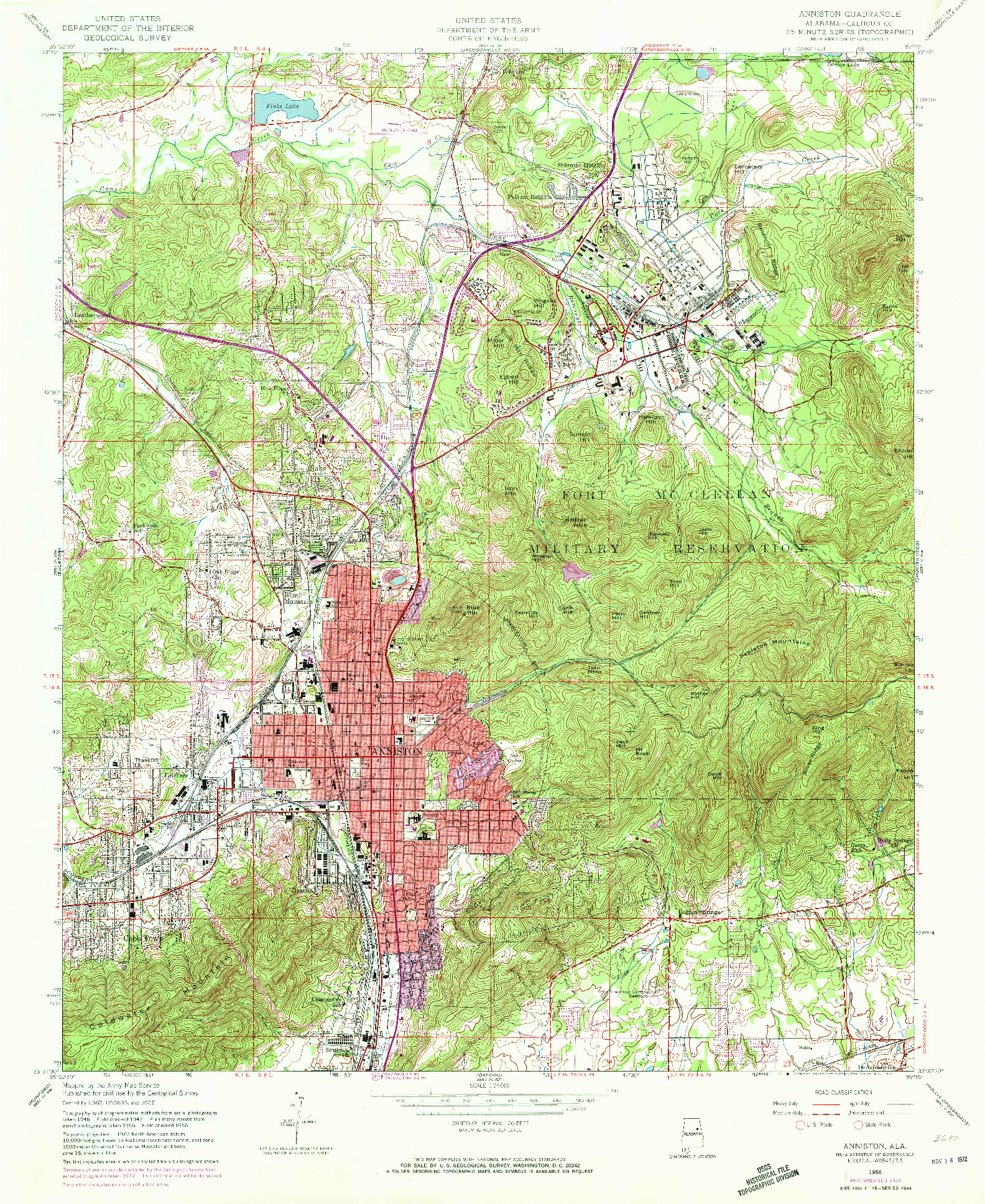 USGS 1:24000-SCALE QUADRANGLE FOR ANNISTON, AL 1956