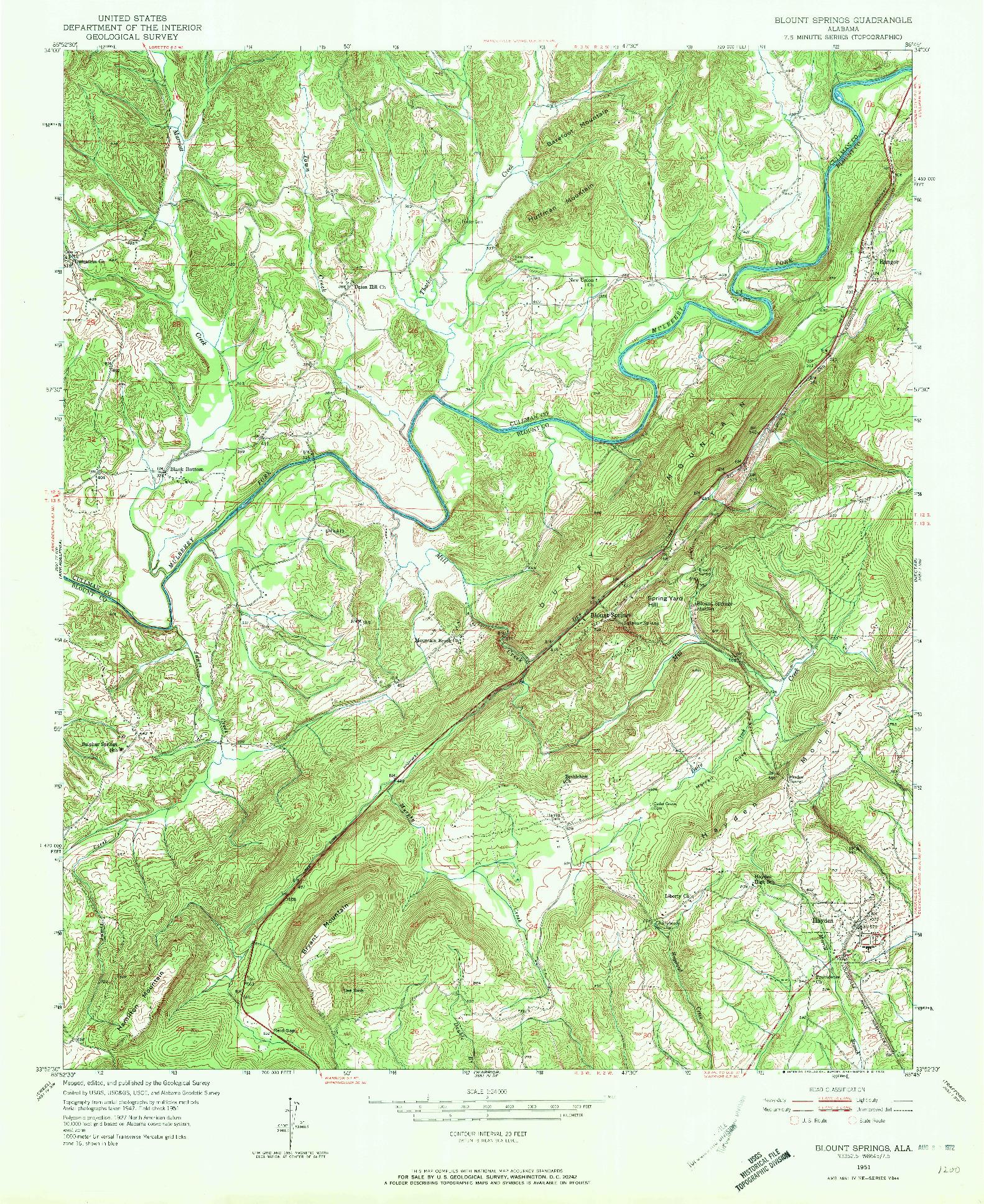 USGS 1:24000-SCALE QUADRANGLE FOR BLOUNT SPRINGS, AL 1951