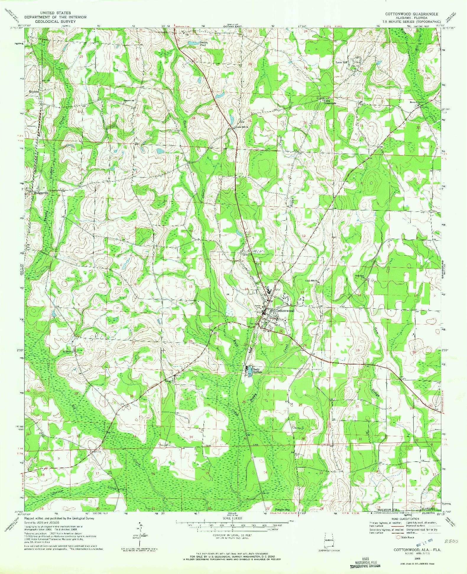 USGS 1:24000-SCALE QUADRANGLE FOR COTTONWOOD, AL 1969