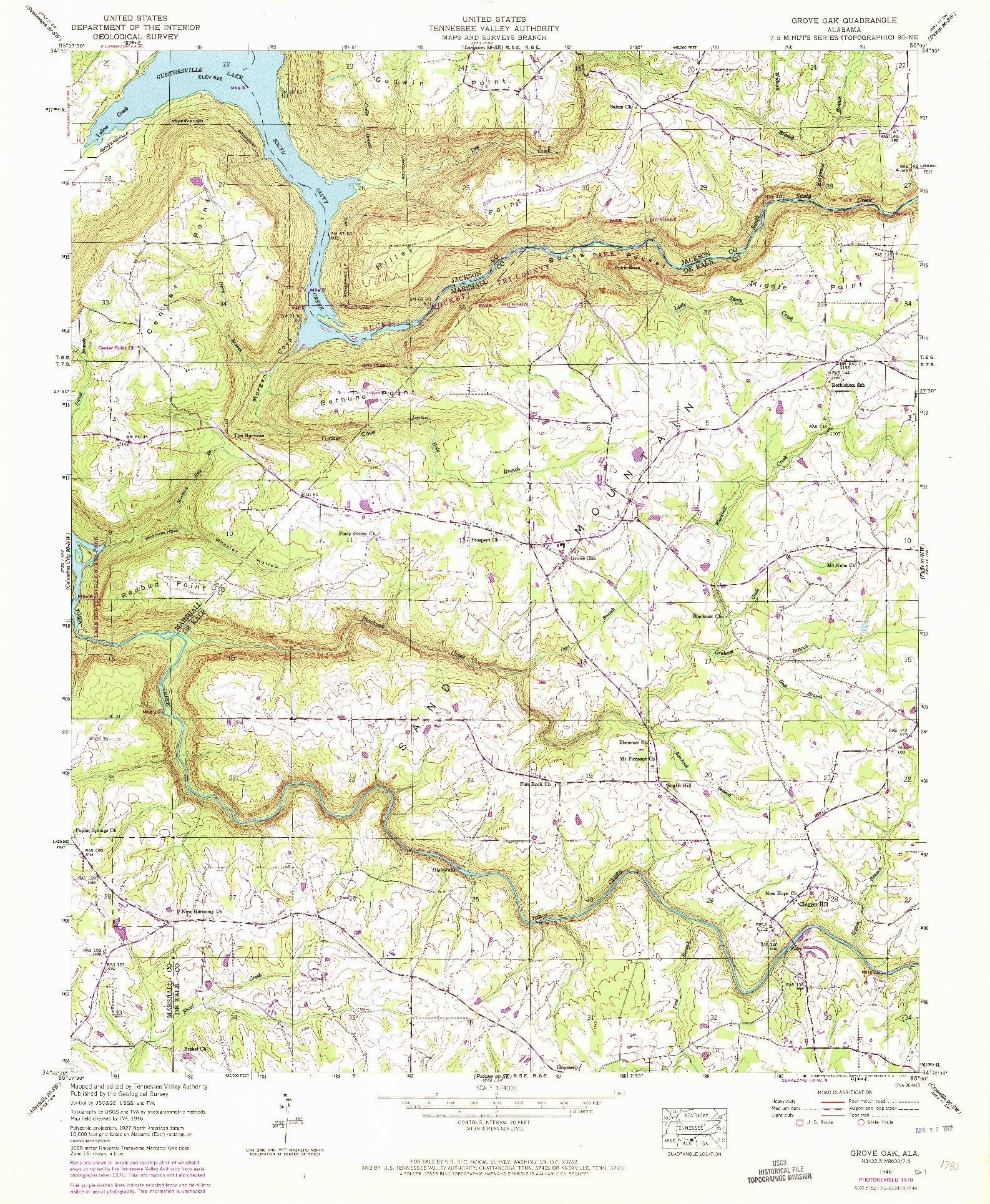 USGS 1:24000-SCALE QUADRANGLE FOR GROVE OAK, AL 1946