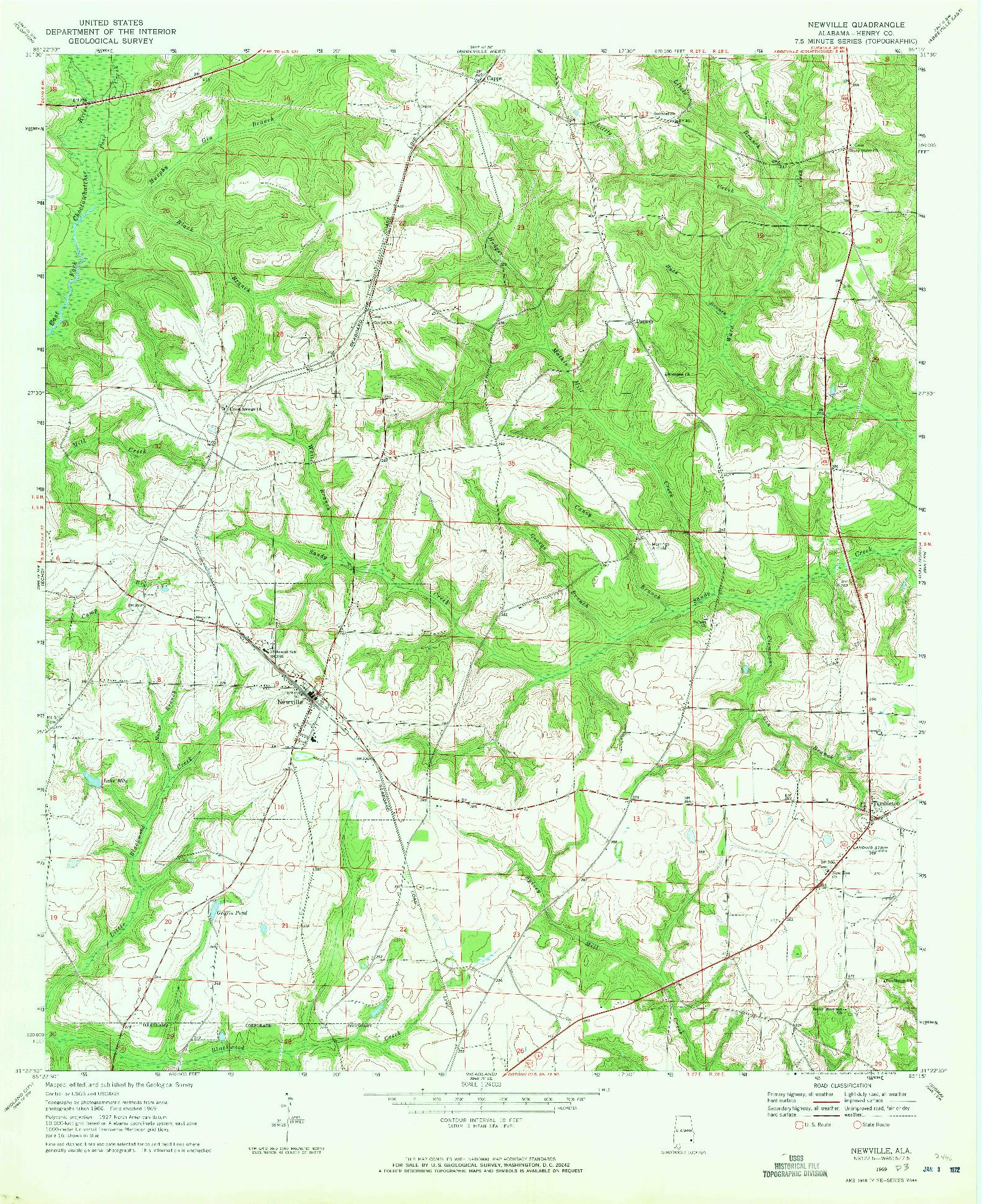 USGS 1:24000-SCALE QUADRANGLE FOR NEWVILLE, AL 1969