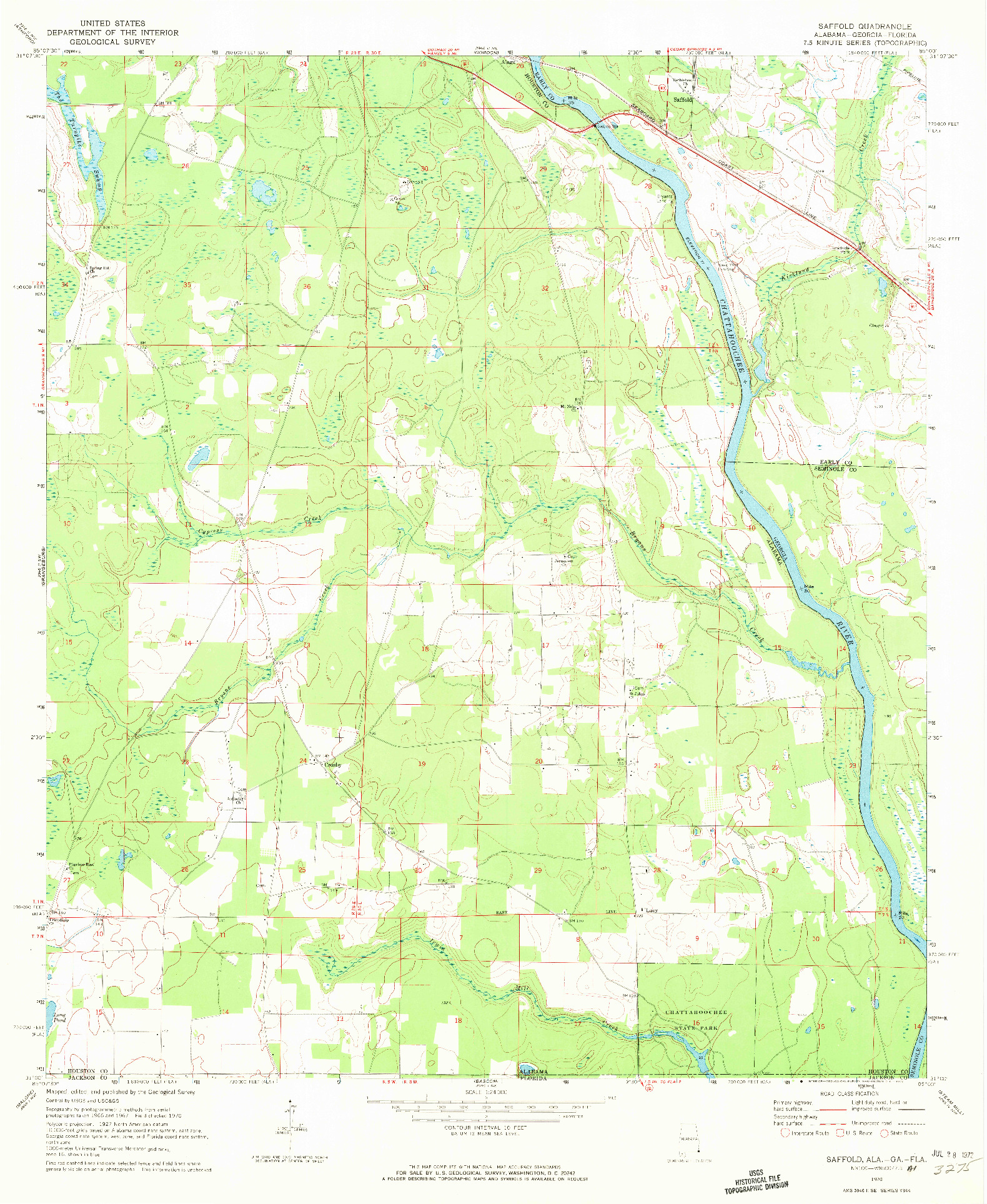 USGS 1:24000-SCALE QUADRANGLE FOR SAFFOLD, AL 1970