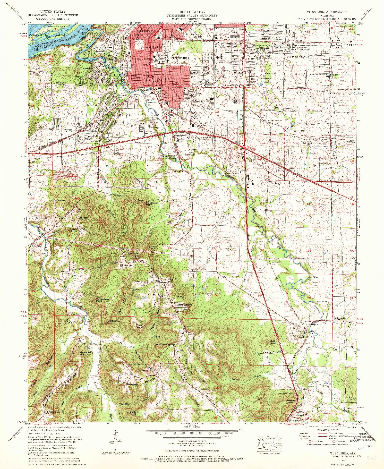 USGS 1:24000-SCALE QUADRANGLE FOR TUSCUMBIA, AL 1971