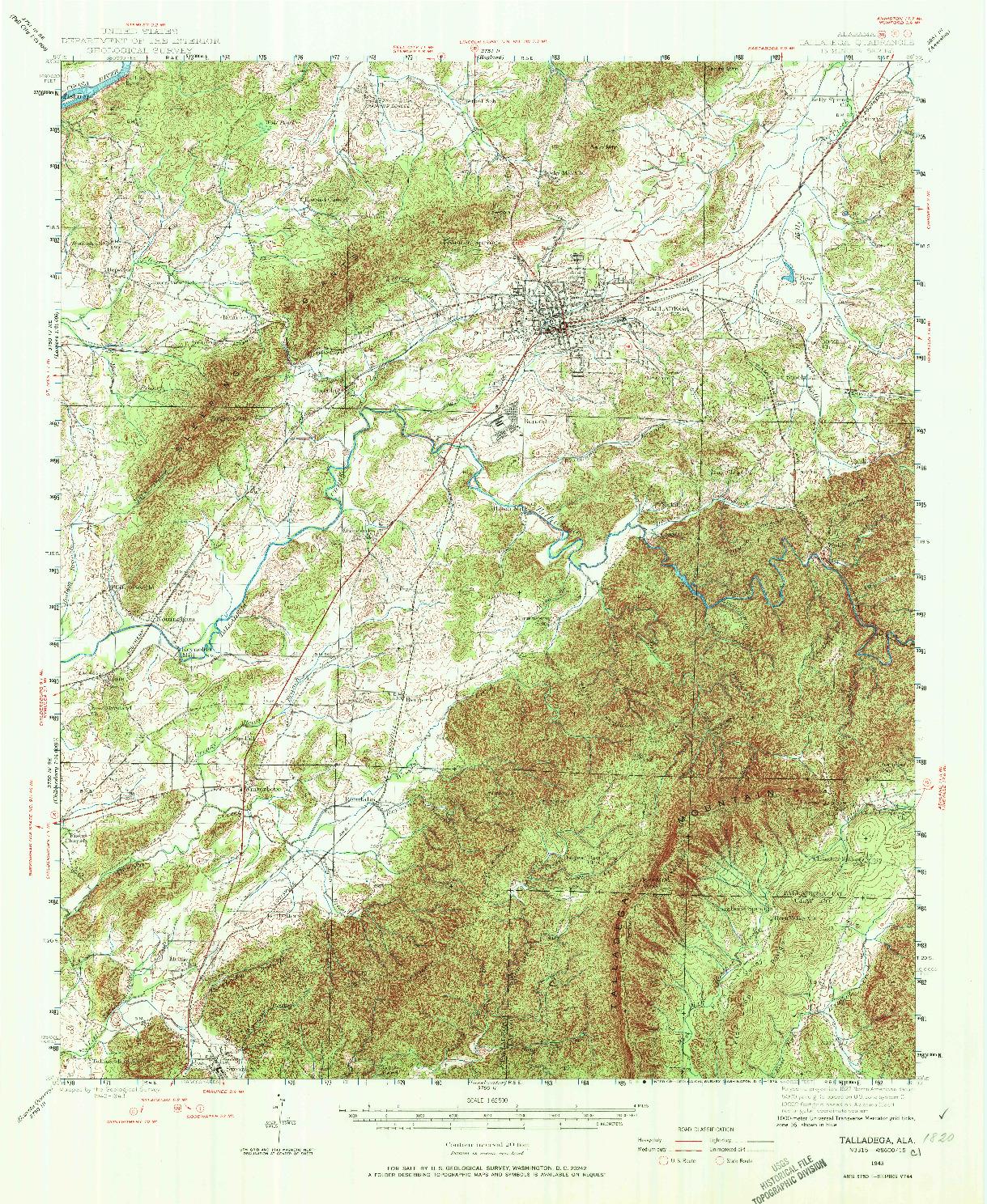 USGS 1:62500-SCALE QUADRANGLE FOR TALLADEGA, AL 1943
