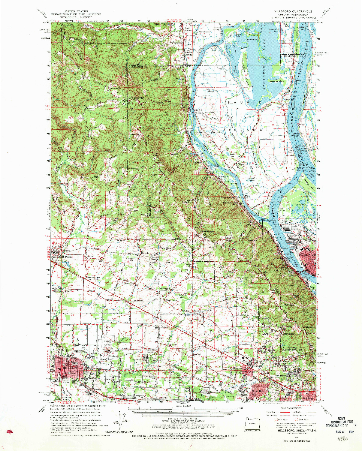 USGS 1:62500-SCALE QUADRANGLE FOR HILLSBORO, OR 1961