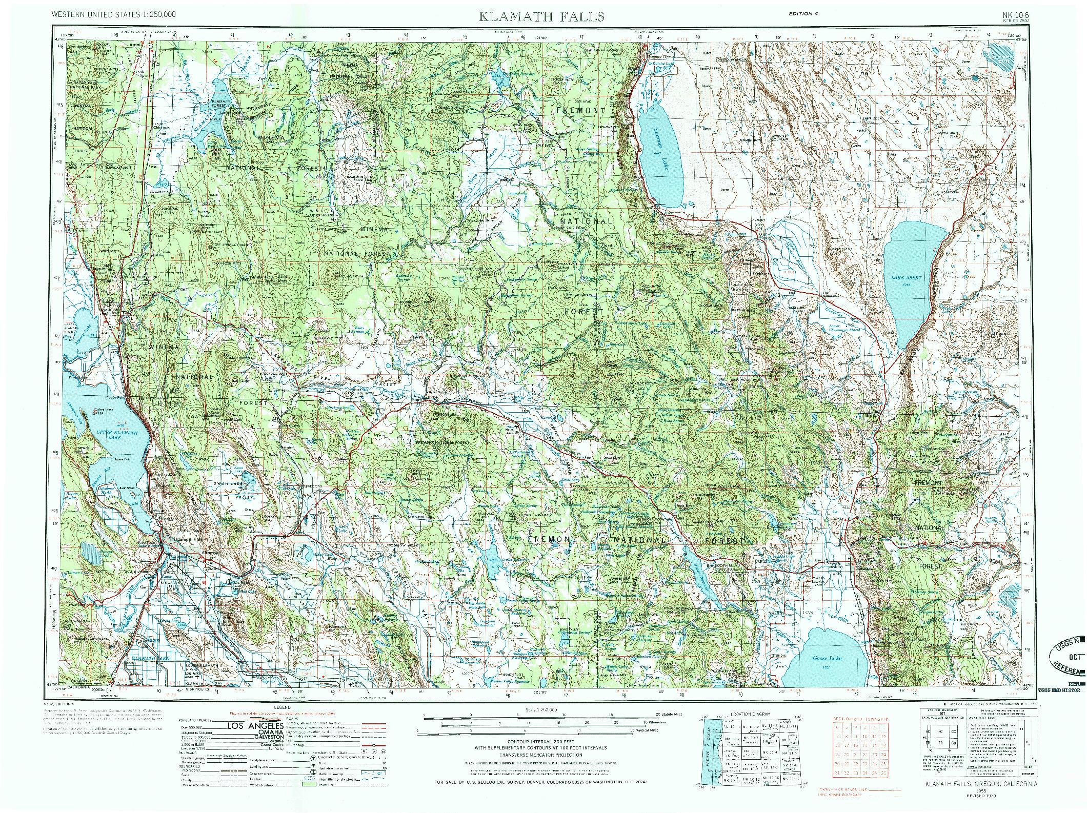 USGS 1:250000-SCALE QUADRANGLE FOR KLAMATH FALLS, OR 1955