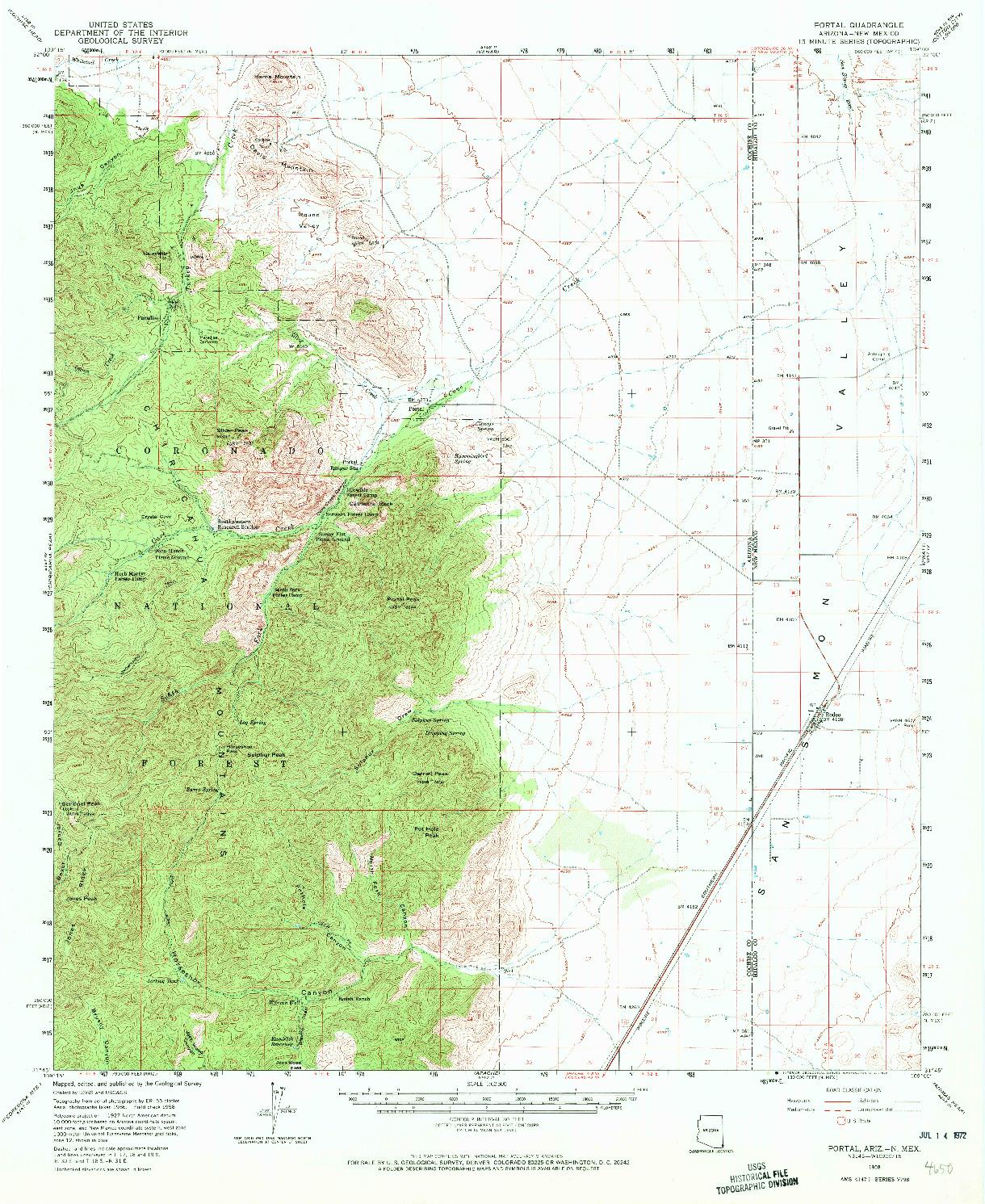 USGS 1:62500-SCALE QUADRANGLE FOR PORTAL, AZ 1958