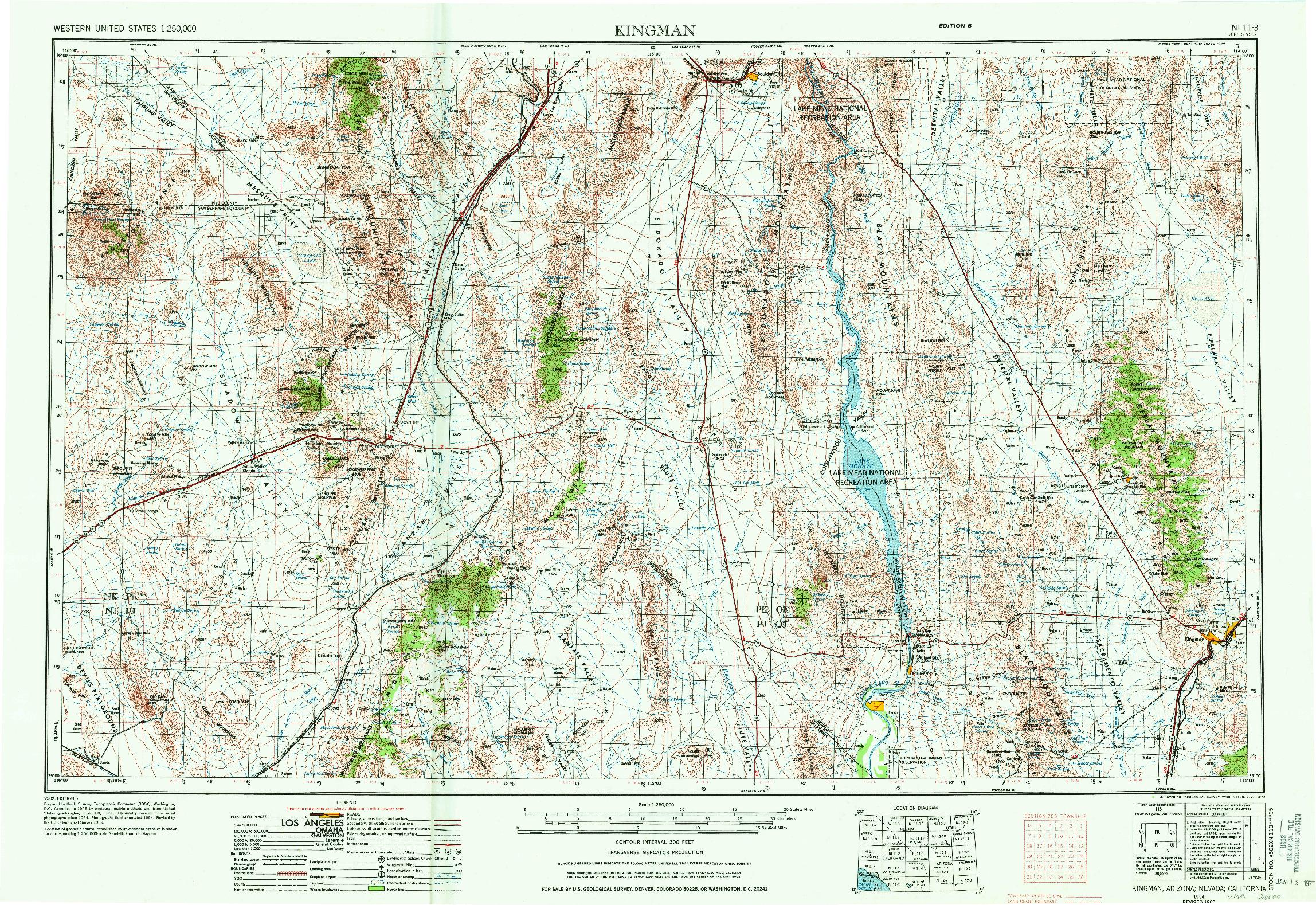 USGS 1:250000-SCALE QUADRANGLE FOR KINGMAN, AZ 1954