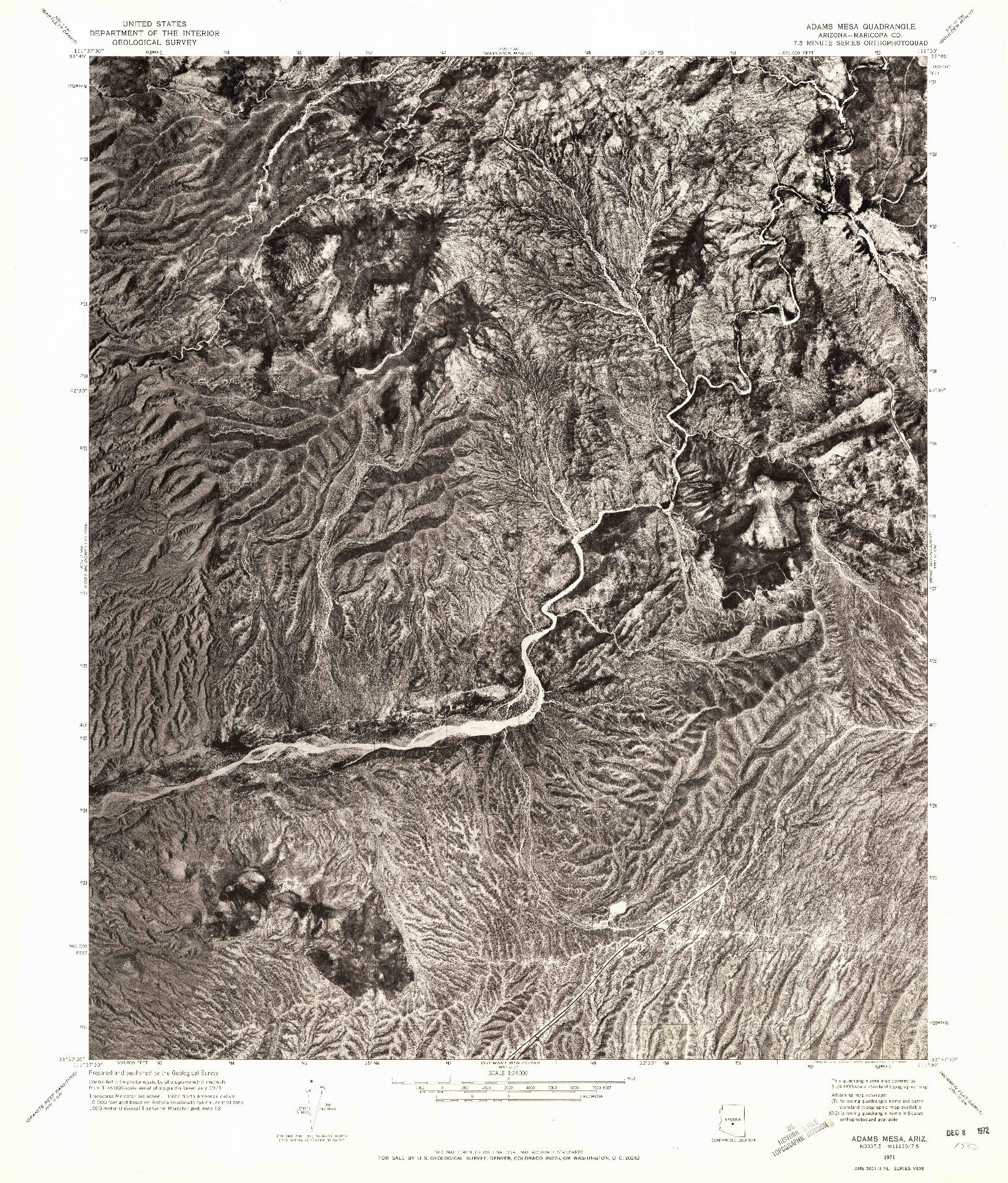 USGS 1:24000-SCALE QUADRANGLE FOR ADAMS MESA, AZ 1971