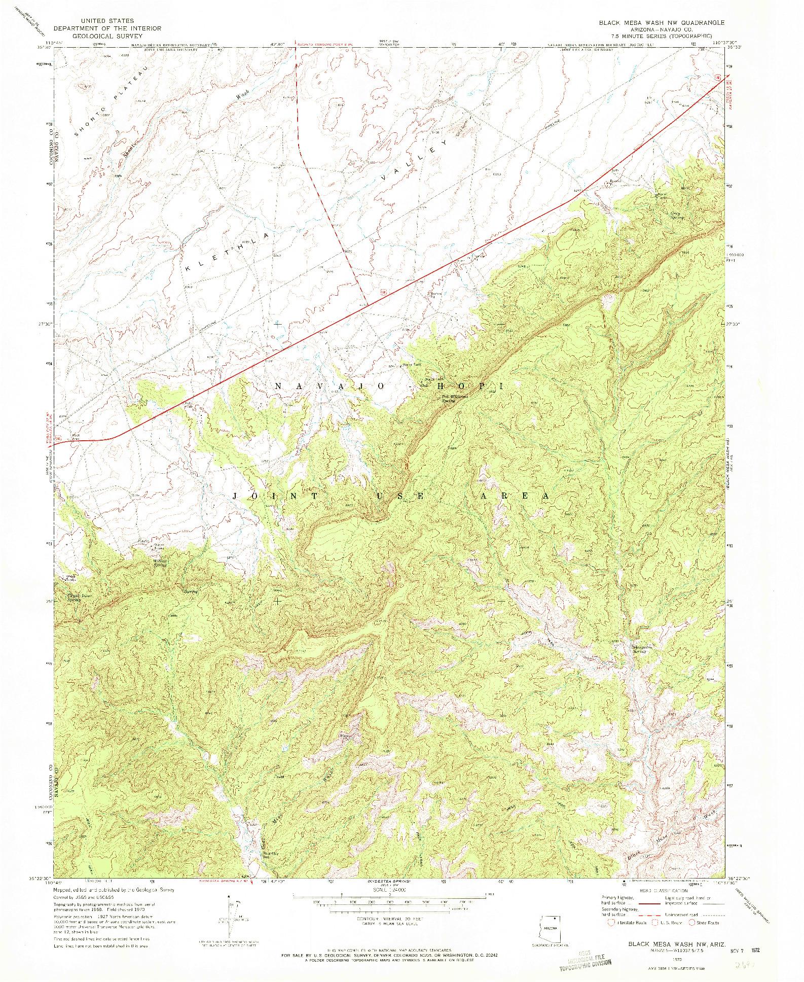 USGS 1:24000-SCALE QUADRANGLE FOR BLACK MESA WASH NW, AZ 1970