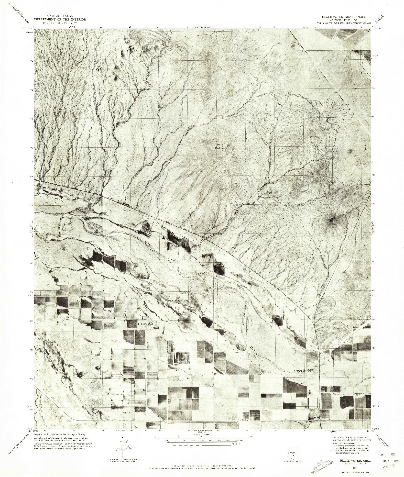 USGS 1:24000-SCALE QUADRANGLE FOR BLACKWATER, AZ 1971